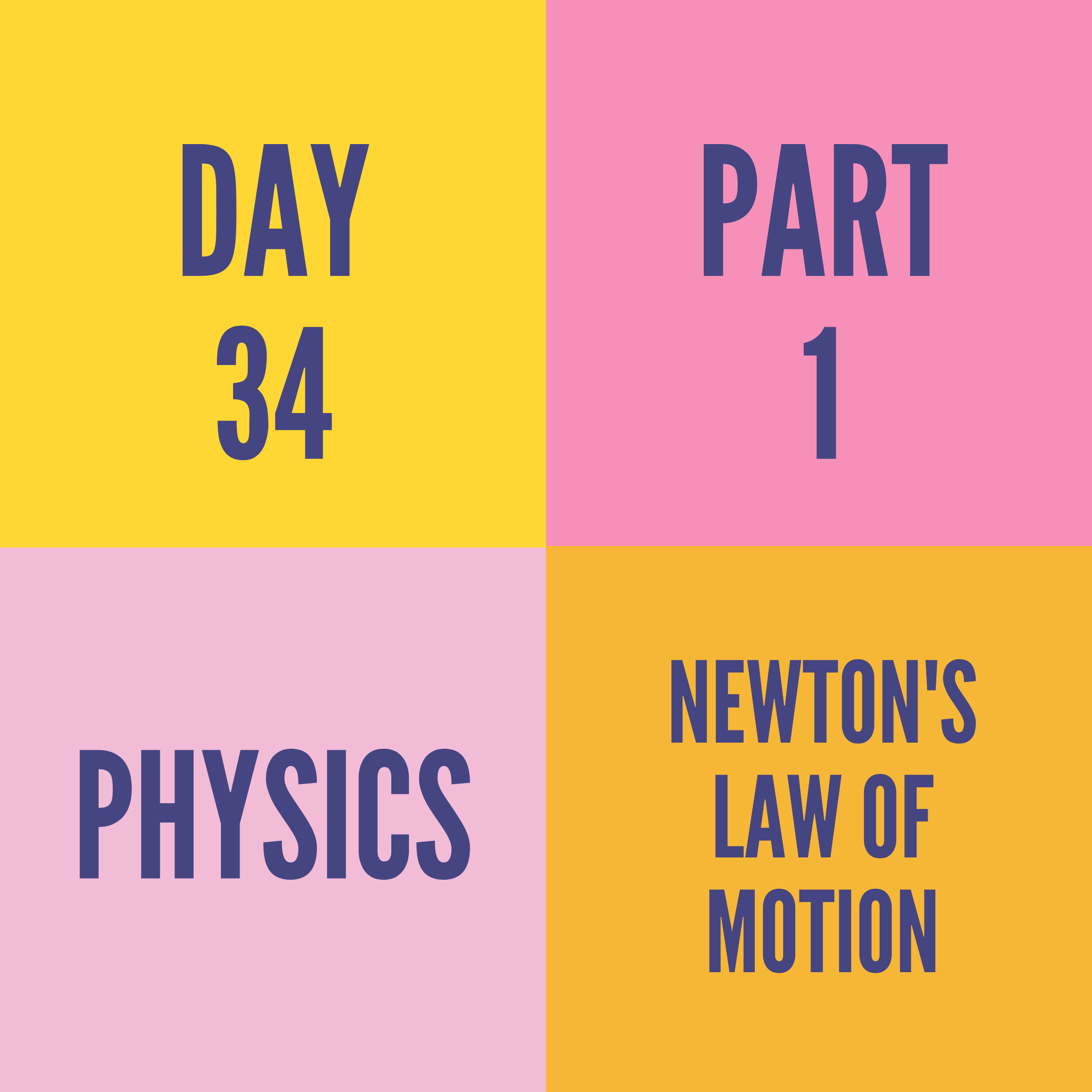 DAY-34 PART-1 NEWTON'S LAW OF MOTION