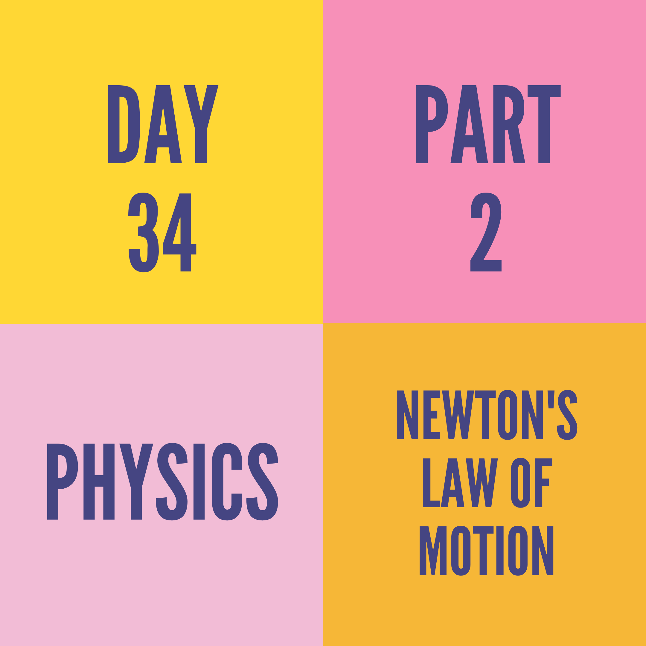 DAY-34 PART-2 NEWTON'S LAW OF MOTION