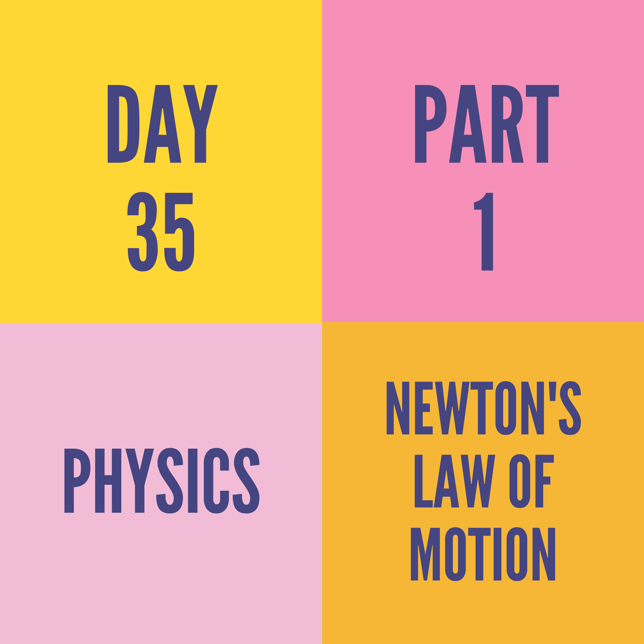 DAY-35 PART-1 NEWTON'S LAW OF MOTION