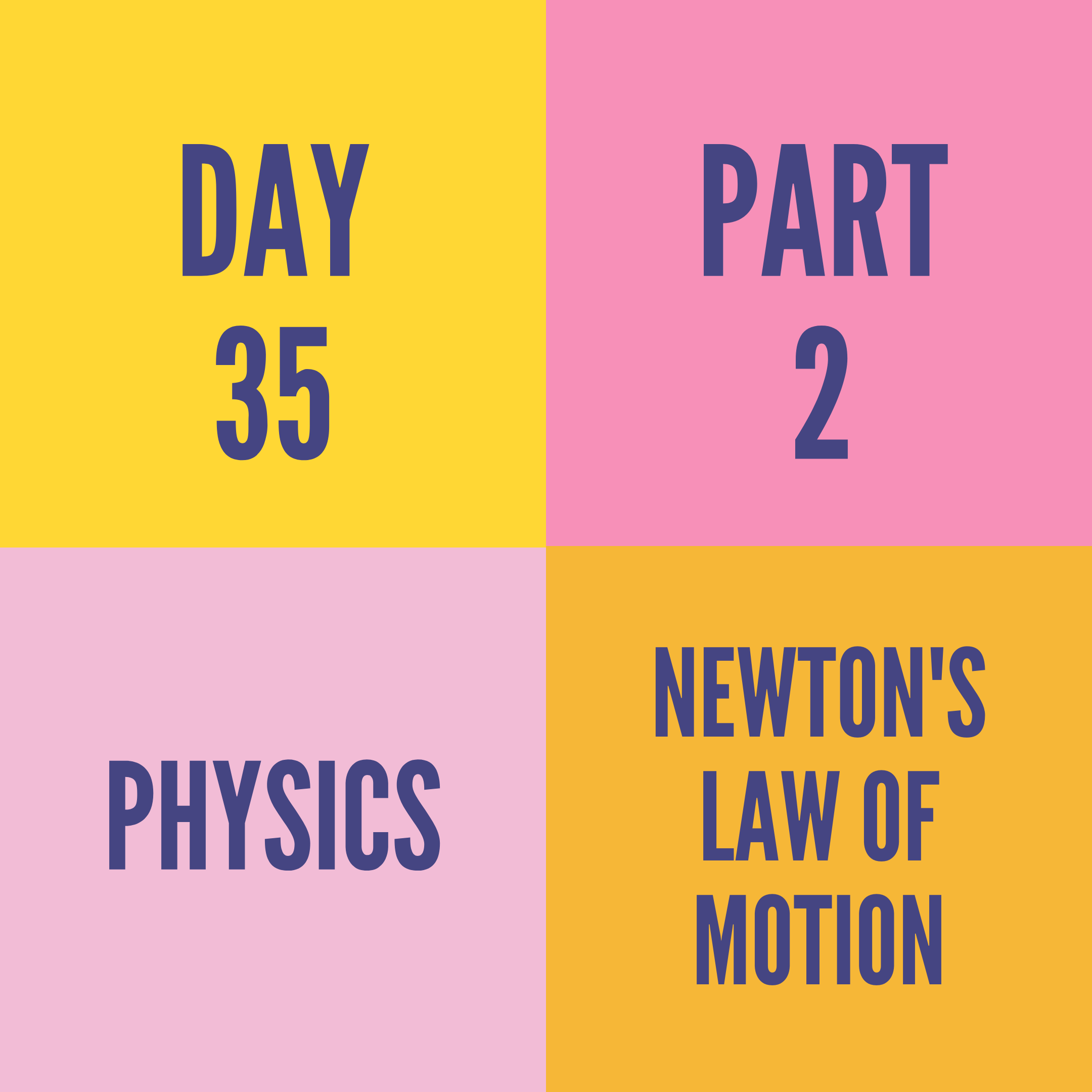 DAY-35 PART-2 NEWTON'S LAW OF MOTION