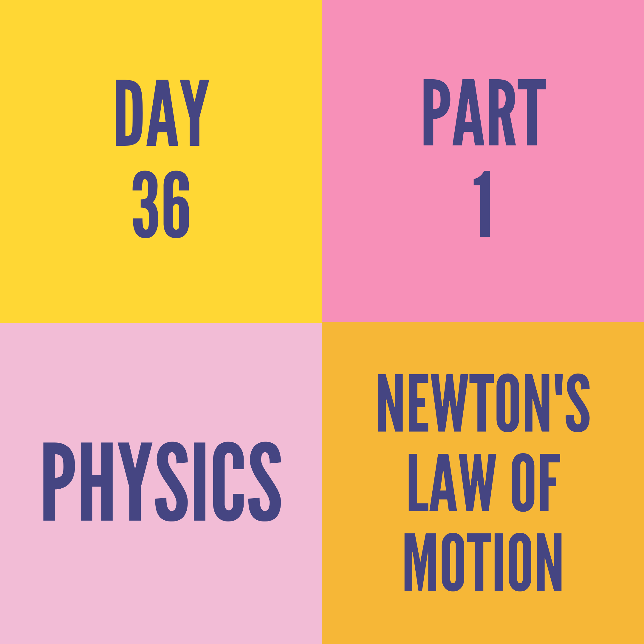 DAY-36 PART-1 NEWTON'S LAW OF MOTION