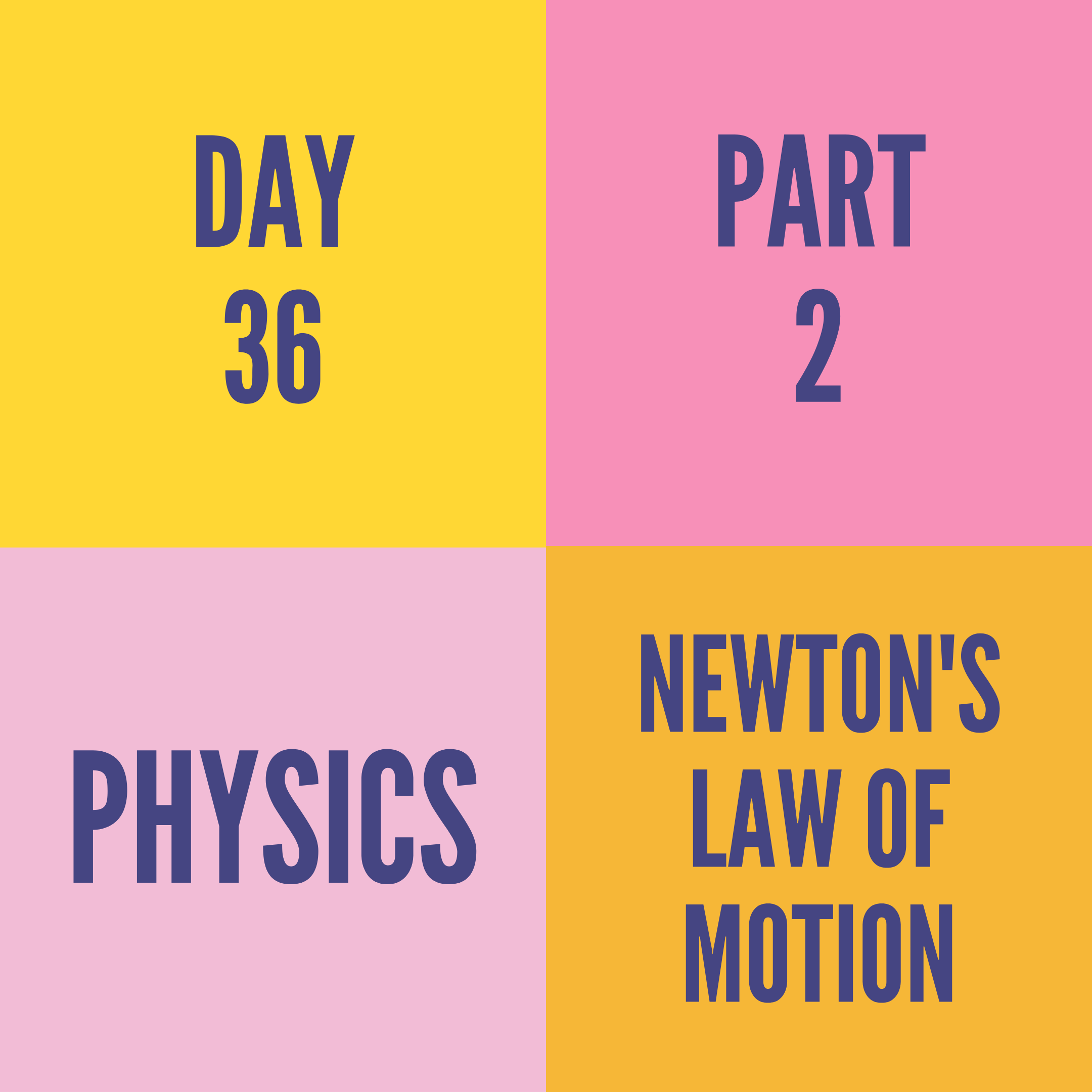 DAY-36 PART-2 NEWTON'S LAW OF MOTION