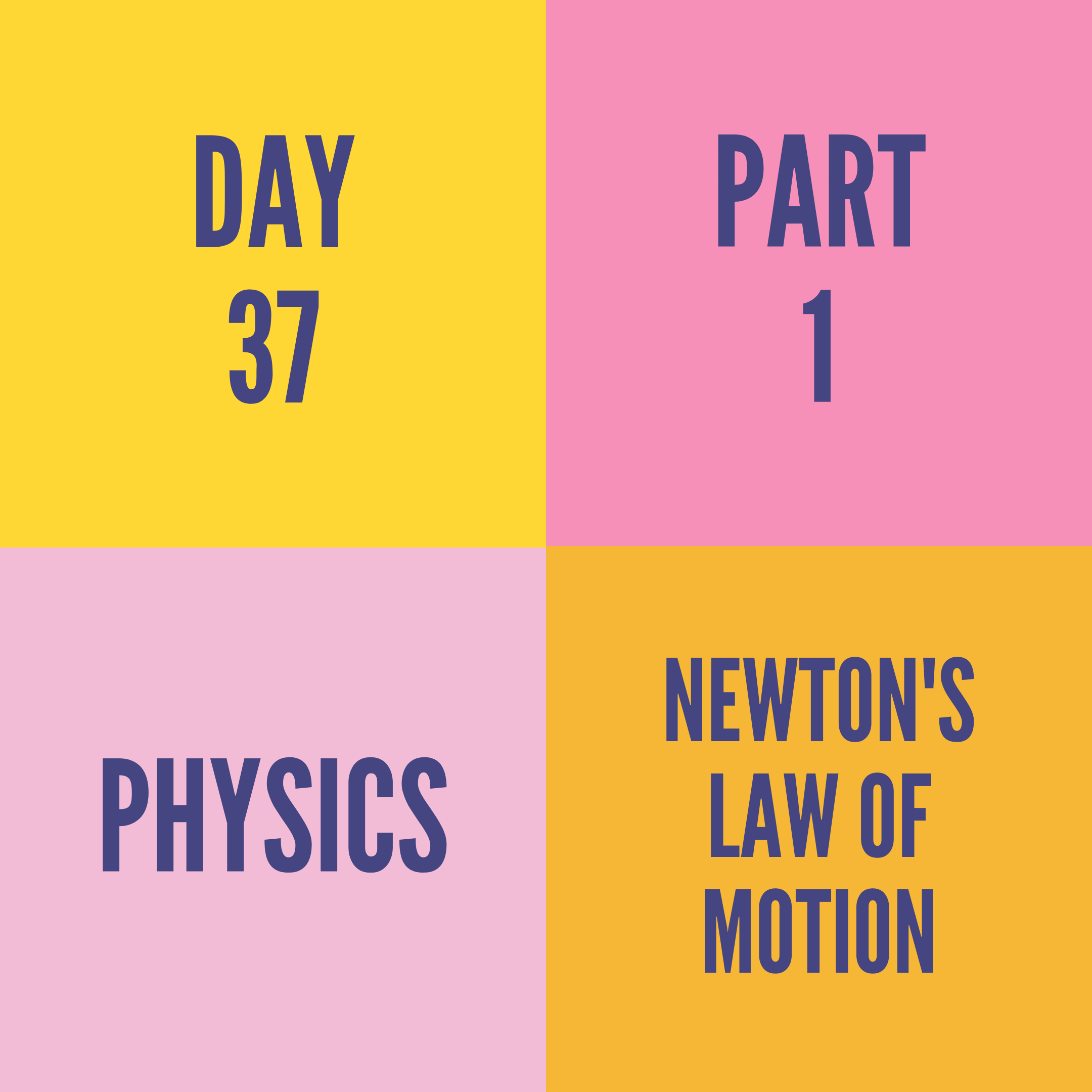DAY-37 PART-1 NEWTON'S LAW OF MOTION