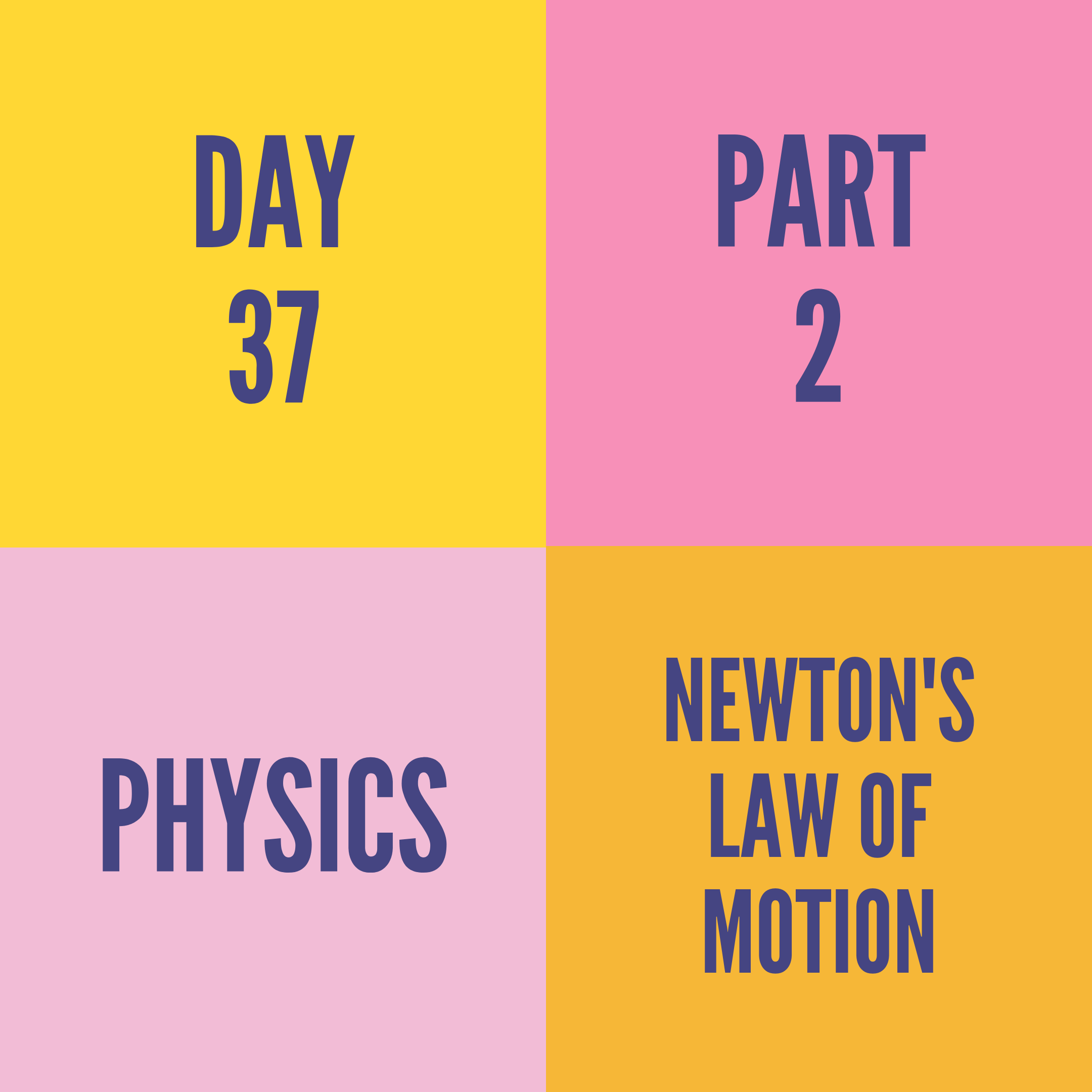 DAY-37 PART-2 NEWTON'S LAW OF MOTION