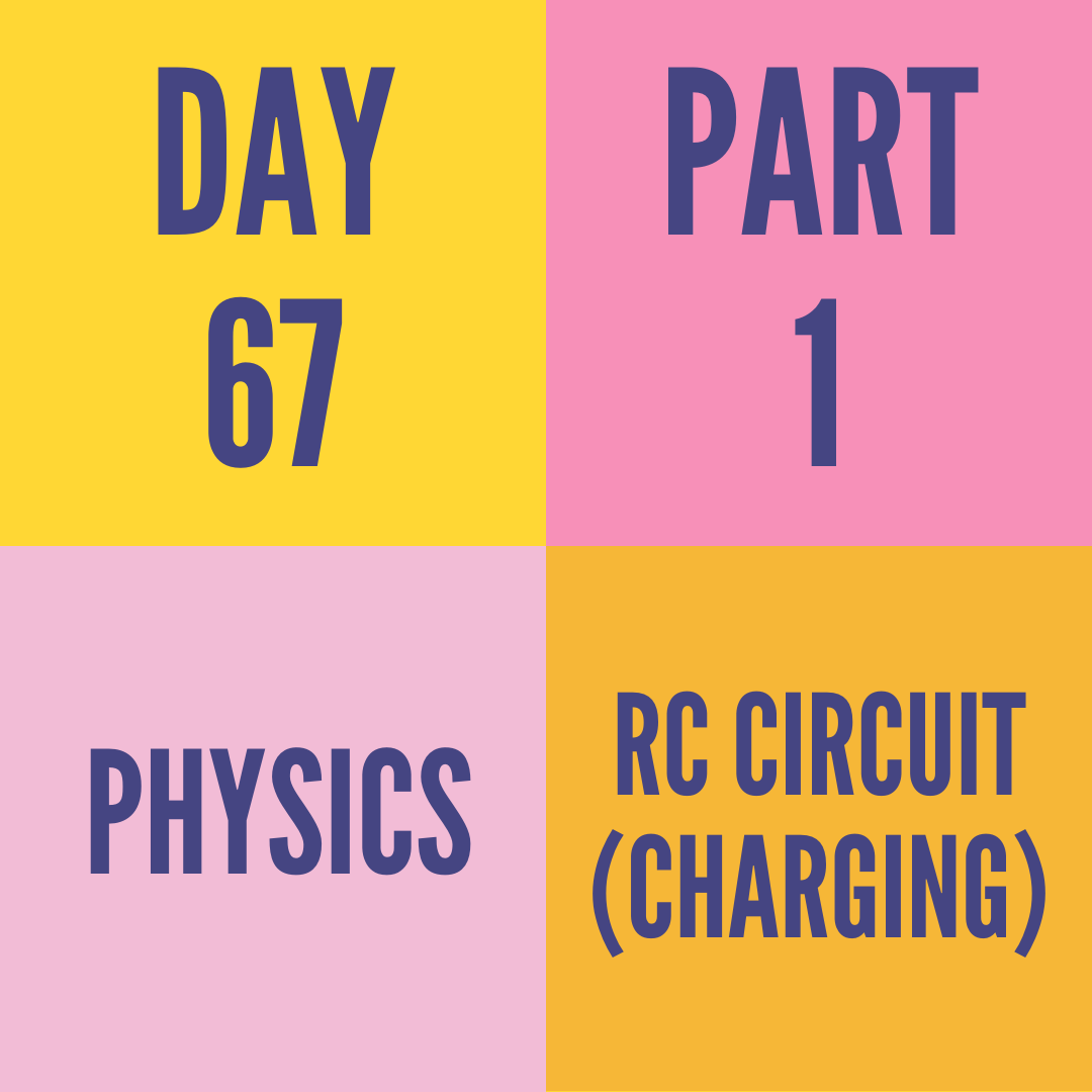 DAY-67 PART-1  RC CIRCUIT (CHARGING)