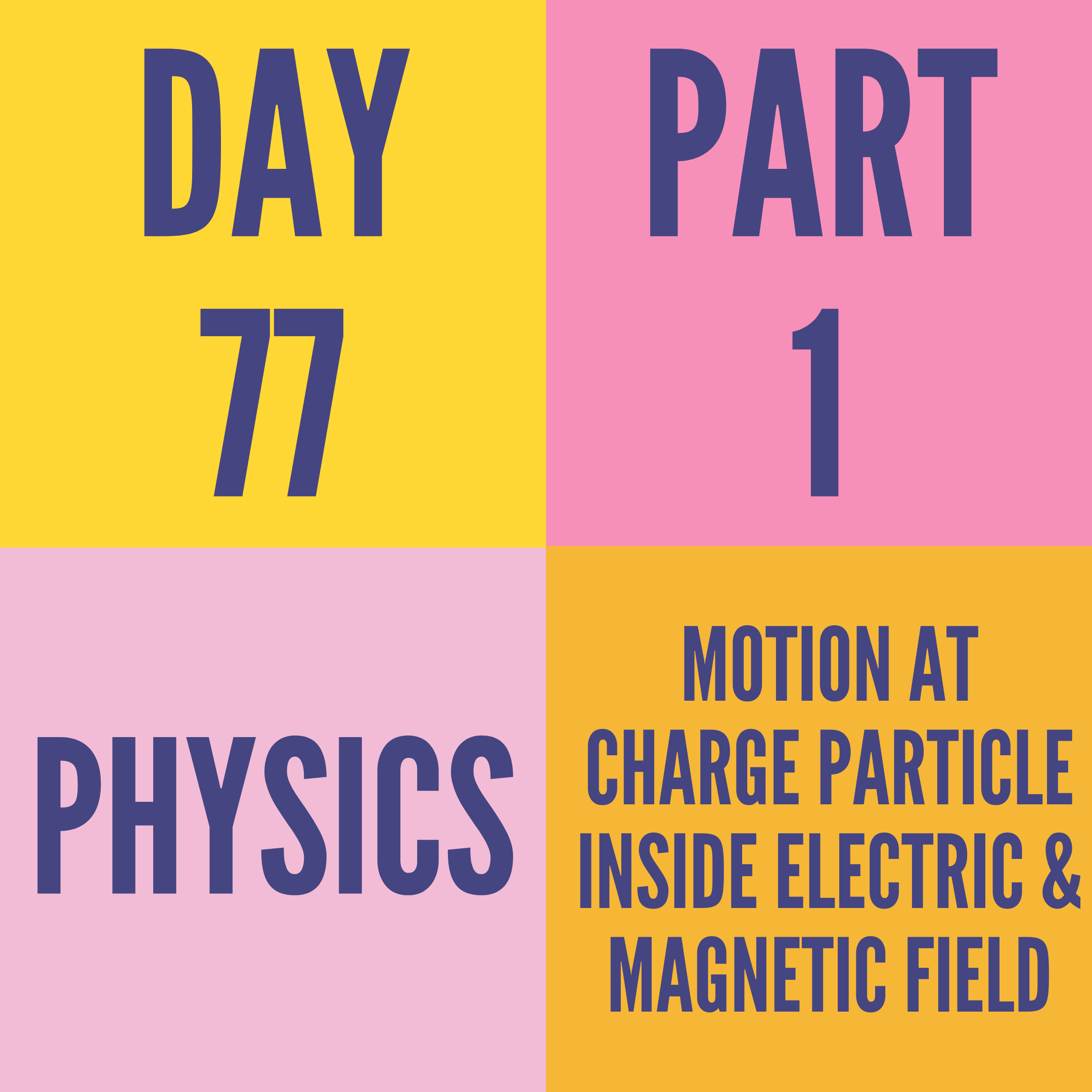 DAY-77 PART-1 MOTION AT CHARGE PARTICLE INSIDE ELECTRIC & MAGNETIC FIELD