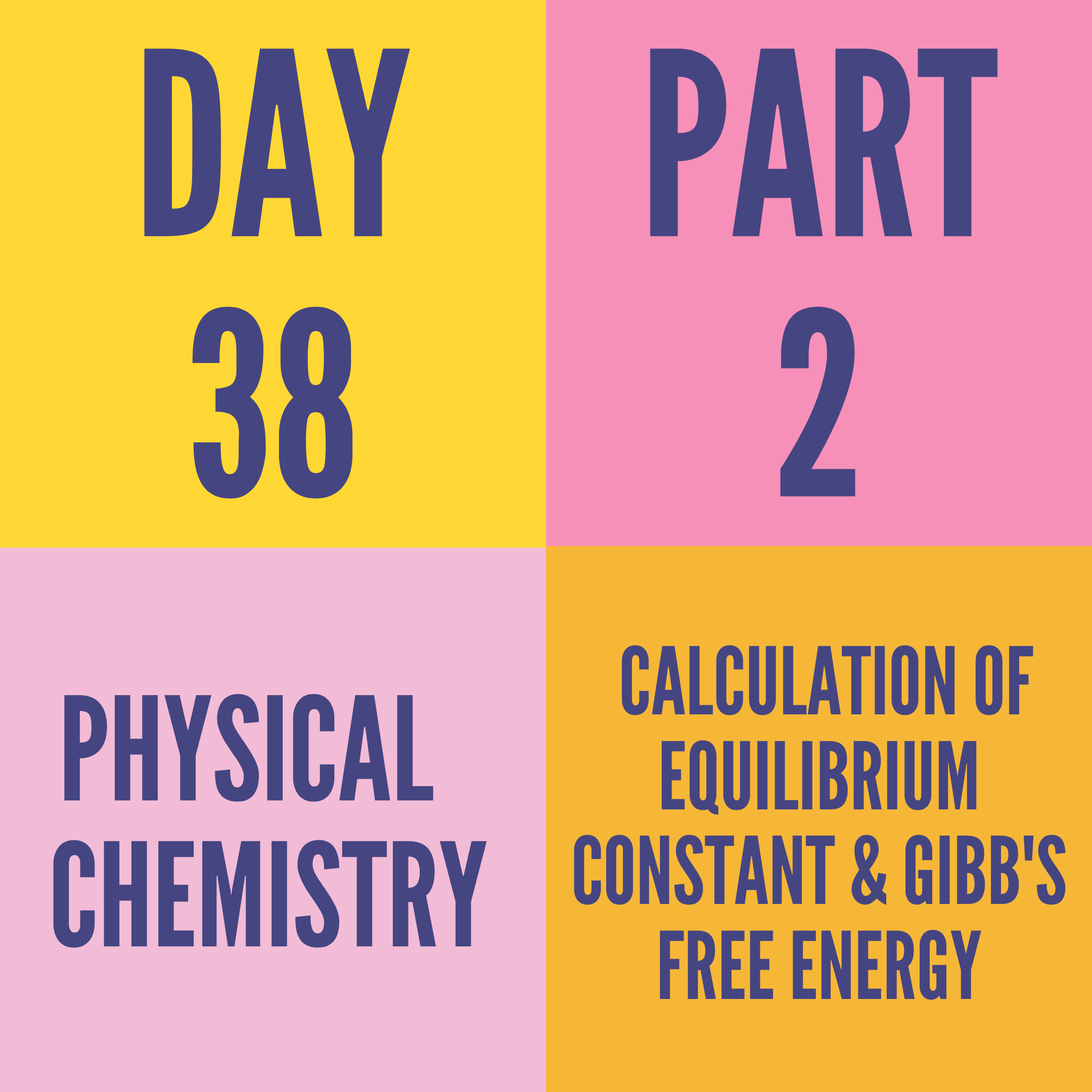 DAY-38 PART-2 CALCULATION OF EQUILIBRIUM CONSTANT & GIBB'S FREE ENERGY