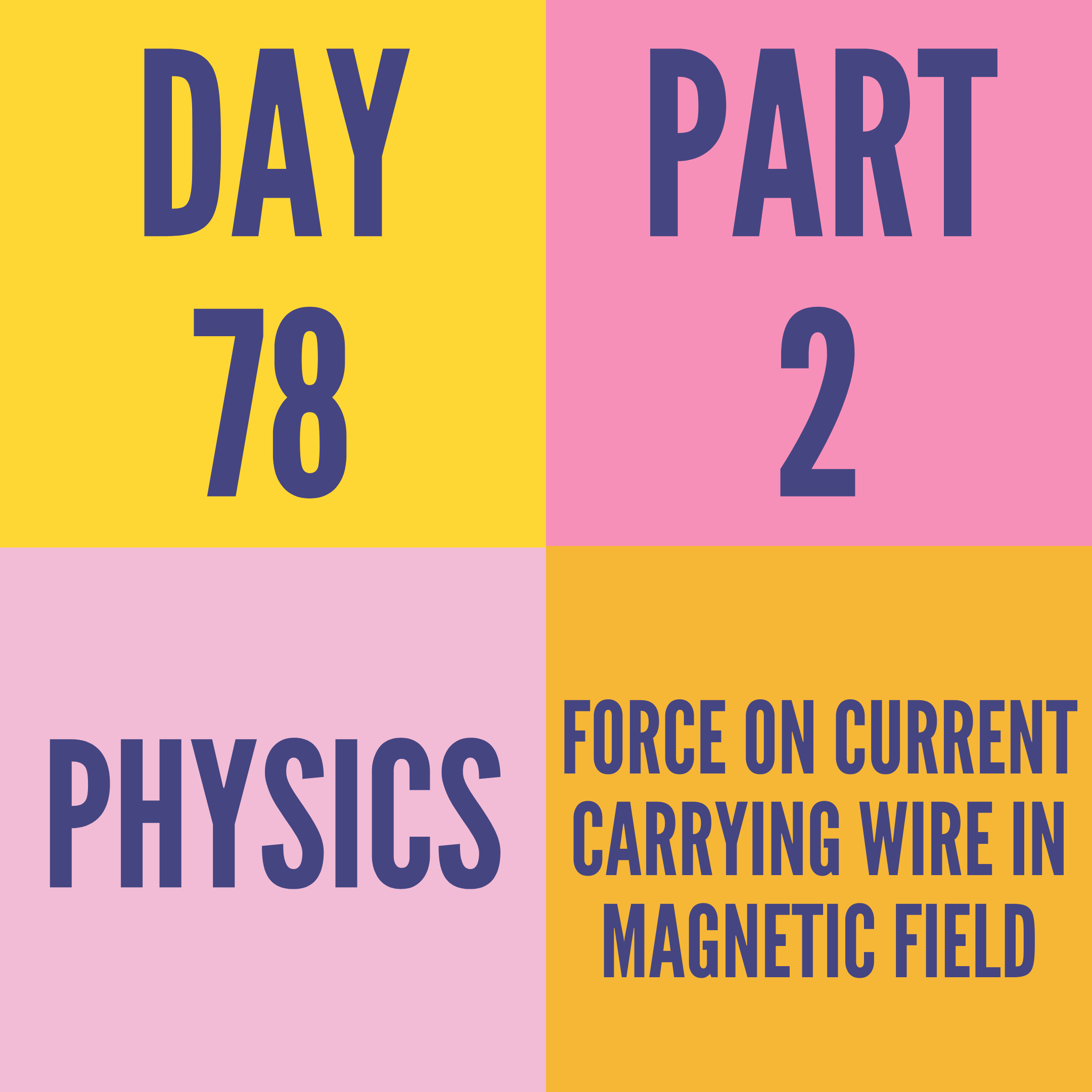 DAY-78 PART-2 FORCE ON CURRENT CARRYING WIRE IN MAGNETIC FIELD