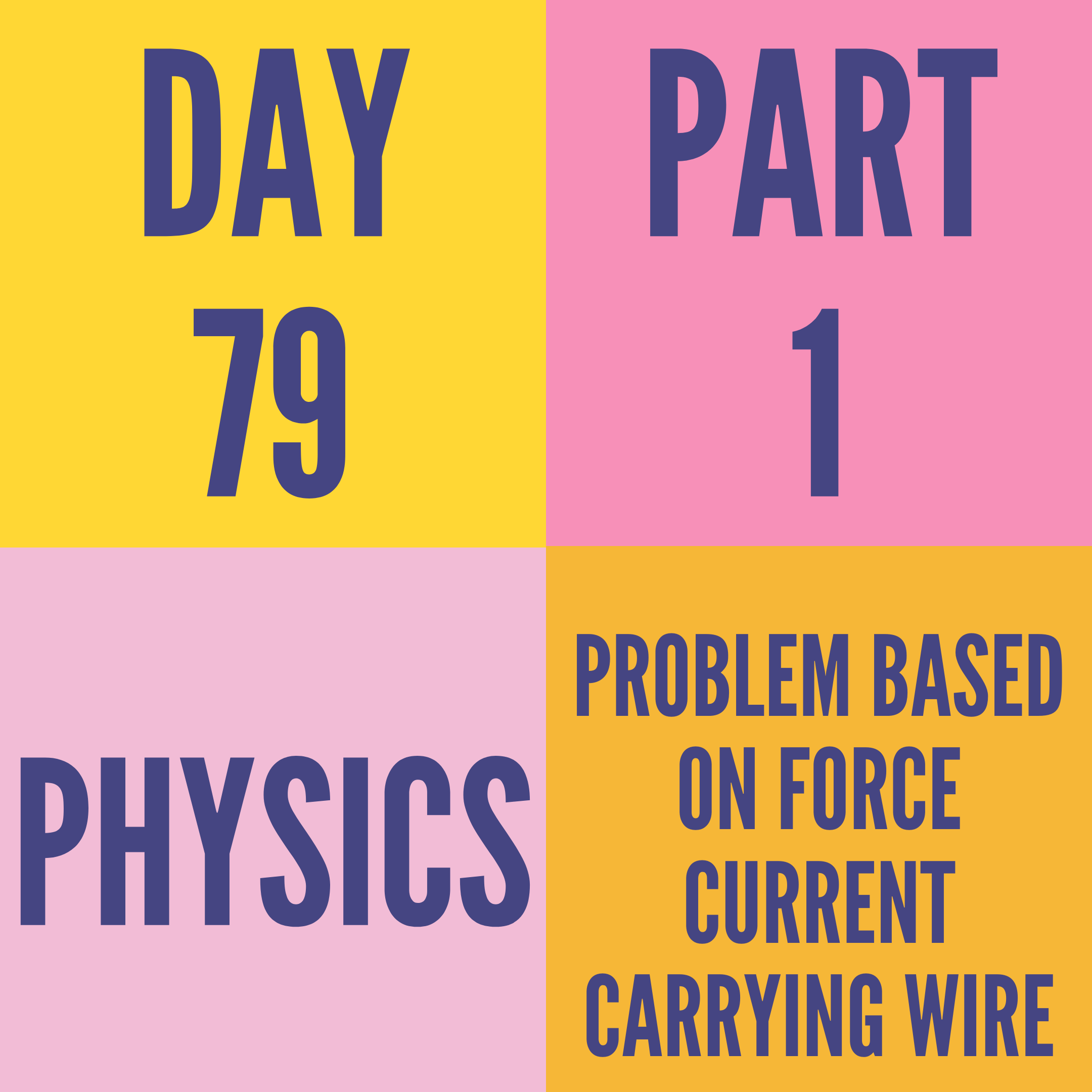 DAY-79 PART-1 PROBLEM BASED ON FORCE CURRENT CARRYING WIRE