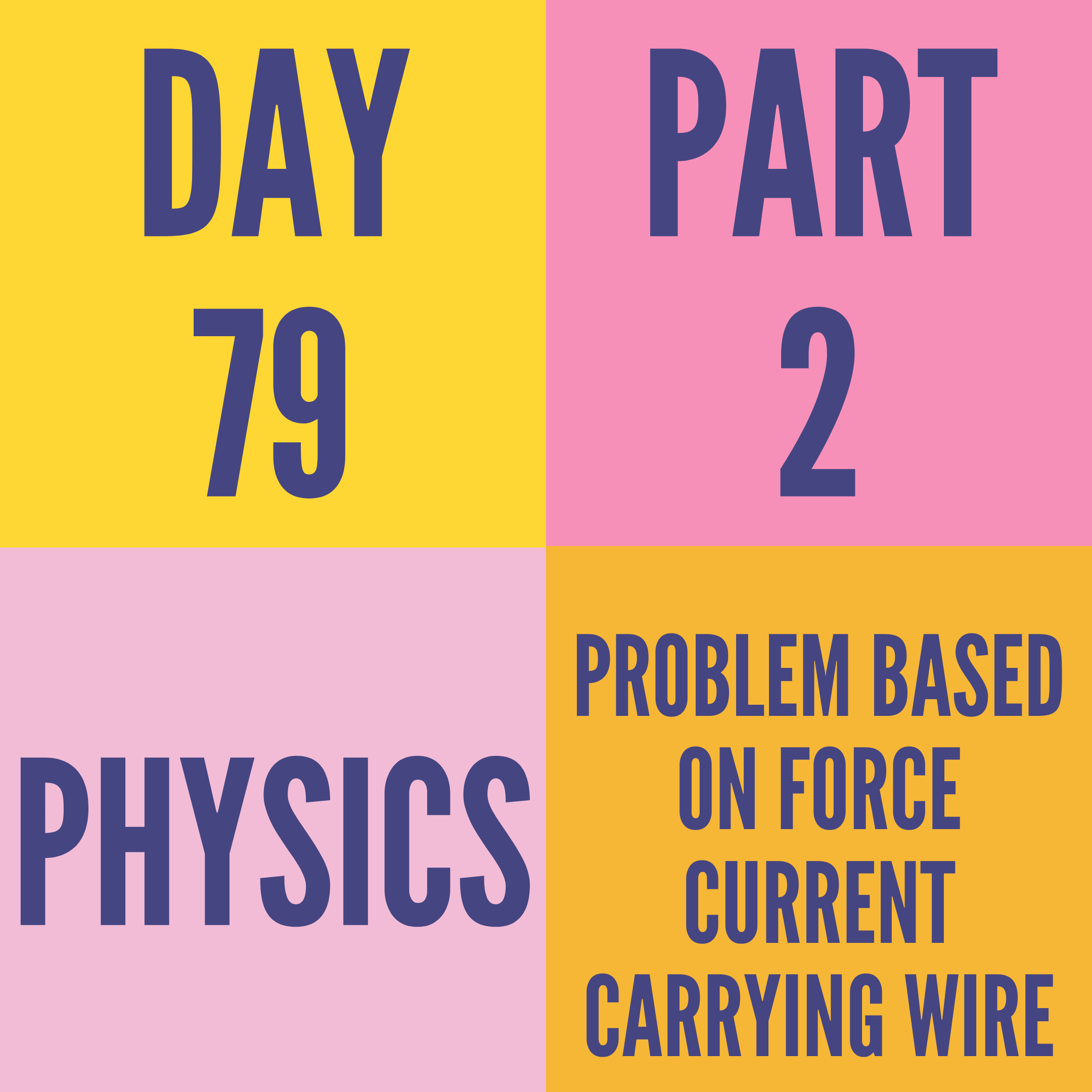 DAY-79 PART-2 PROBLEM BASED ON FORCE CURRENT CARRYING WIRE