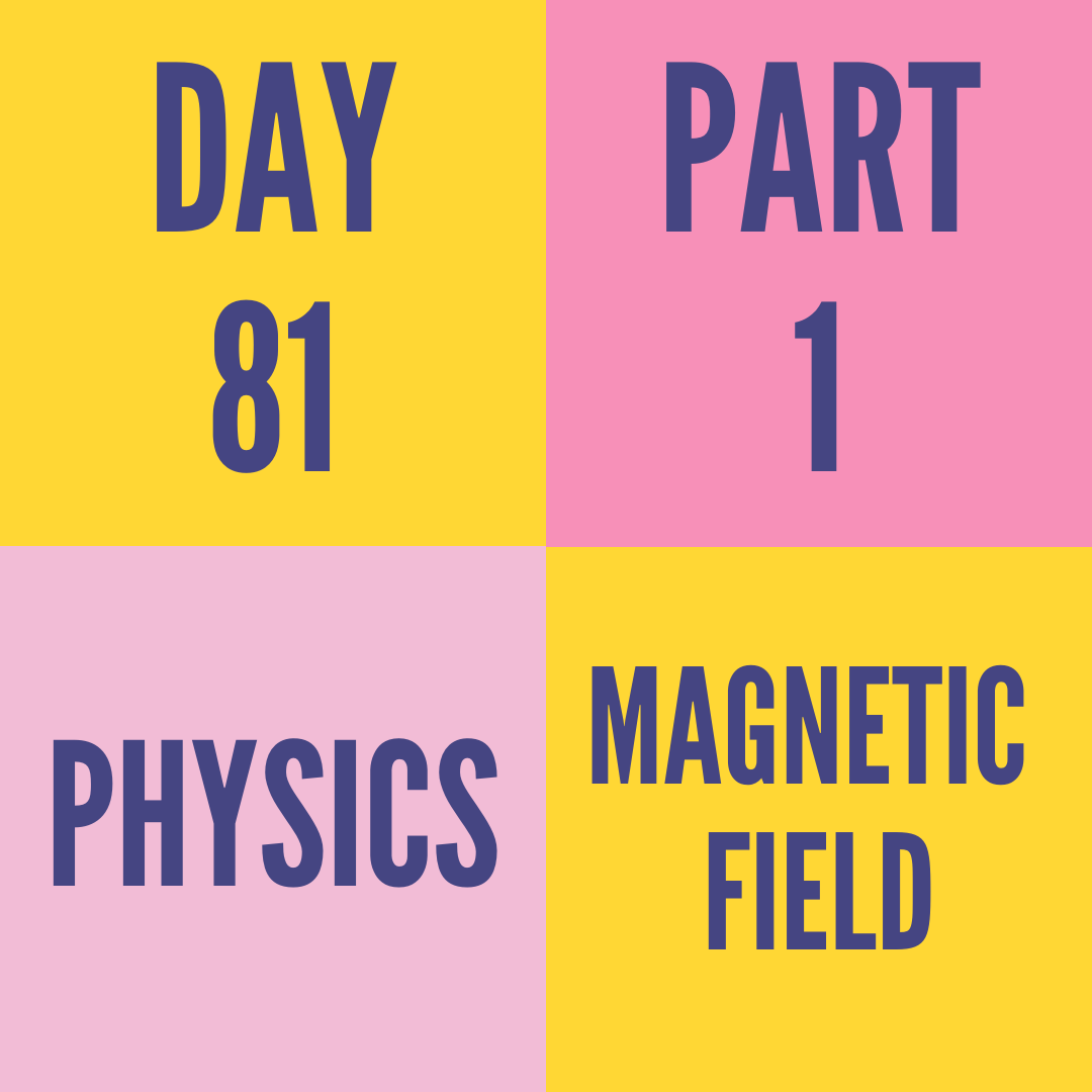 DAY-81 PART-1 MAGNETIC FIELD
