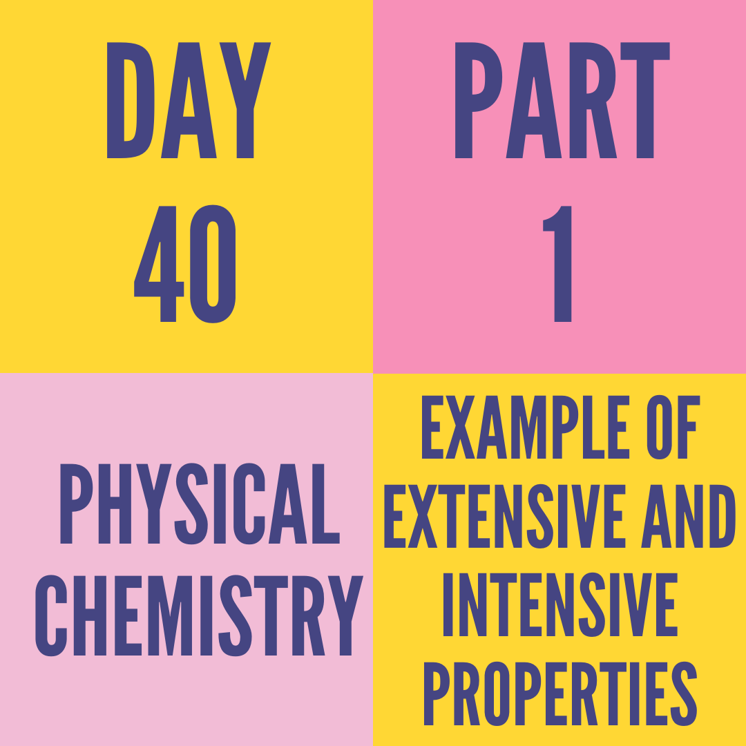 DAY-40 PART-1 EXAMPLE OF EXTENSIVE AND INTENSIVE PROPERTIES