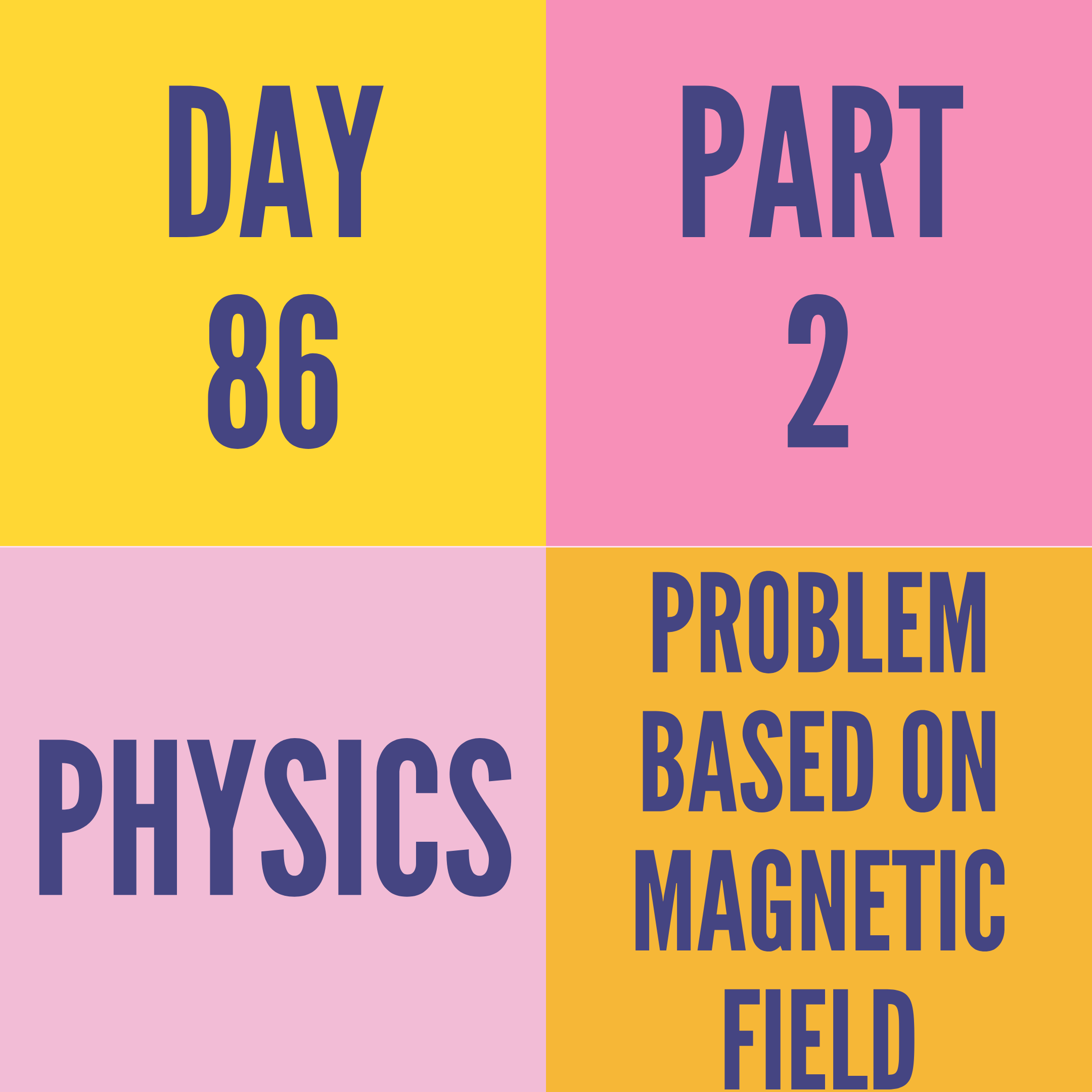 DAY-86 PART-2 PROBLEM BASED ON MAGNETIC FIELD