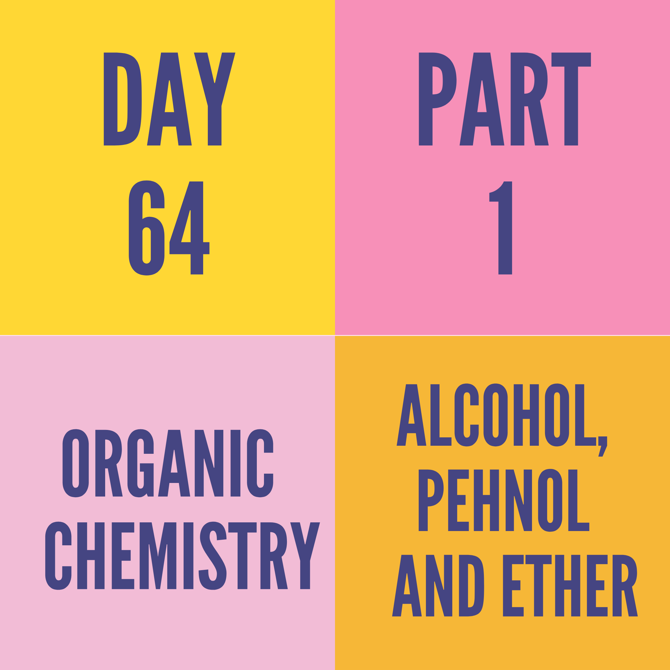 DAY-64 PART-1 ALCOH0L,PEHNOL AND ETHER