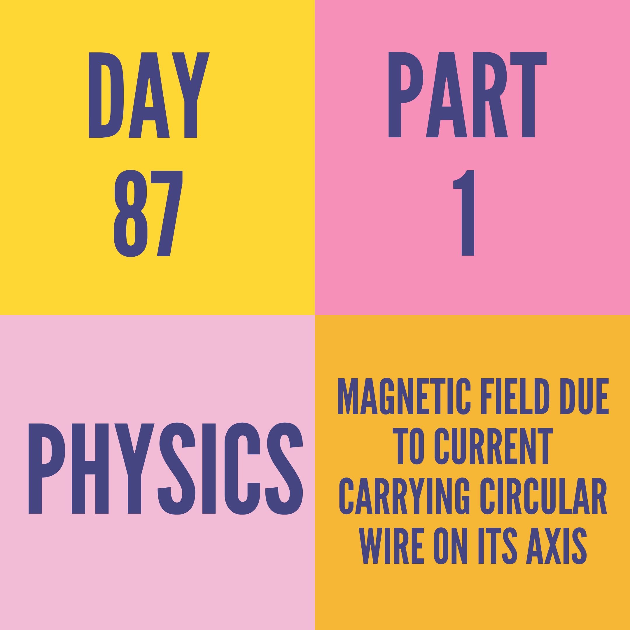 DAY-87 PART-1 MAGNETIC FIELD DUE TO CURRENT CARRYING CIRCULAR WIRE ON ITS AXIS