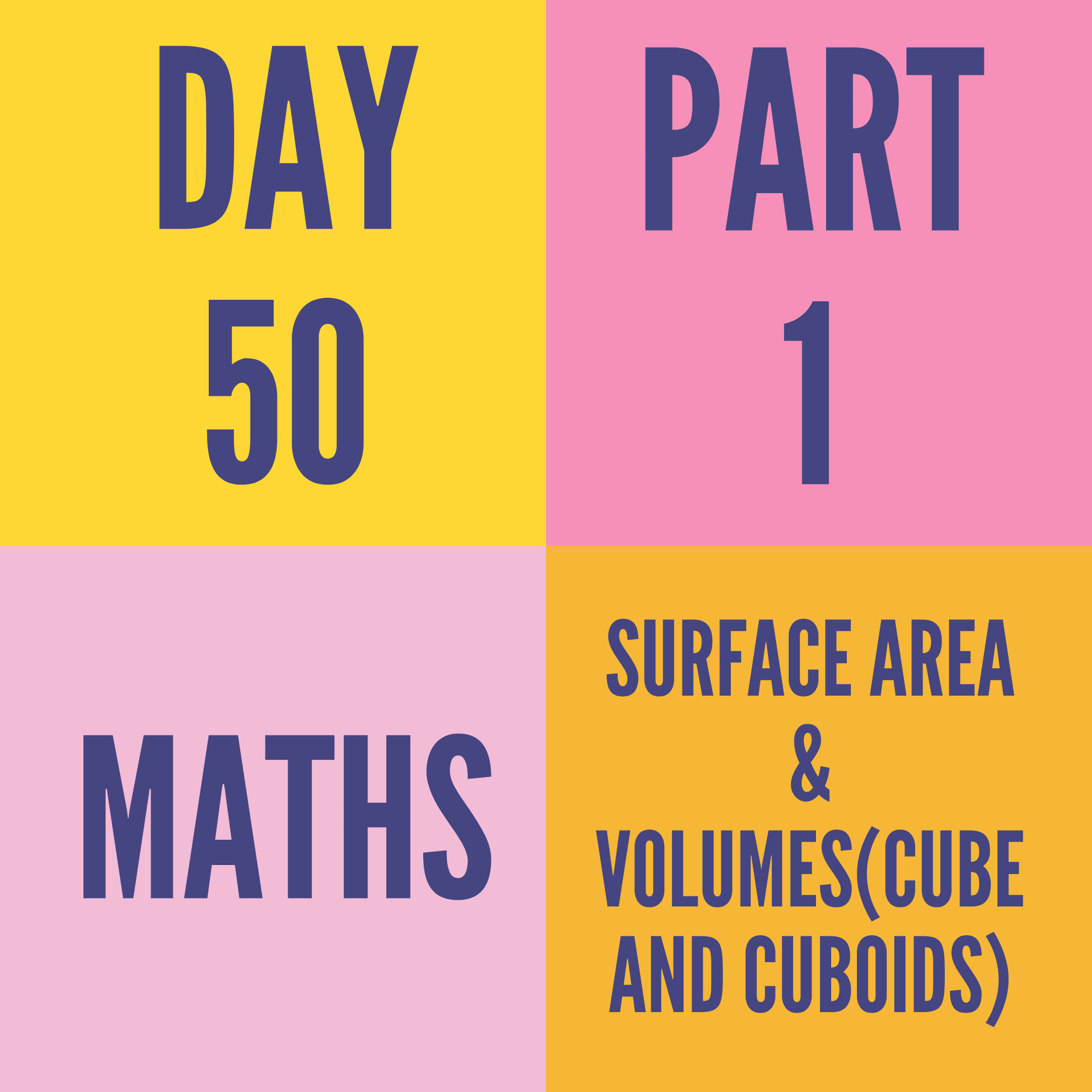 DAY-50 PART-1 SURFACE AREA & VOLUMES(CUBE AND CUBOIDS)