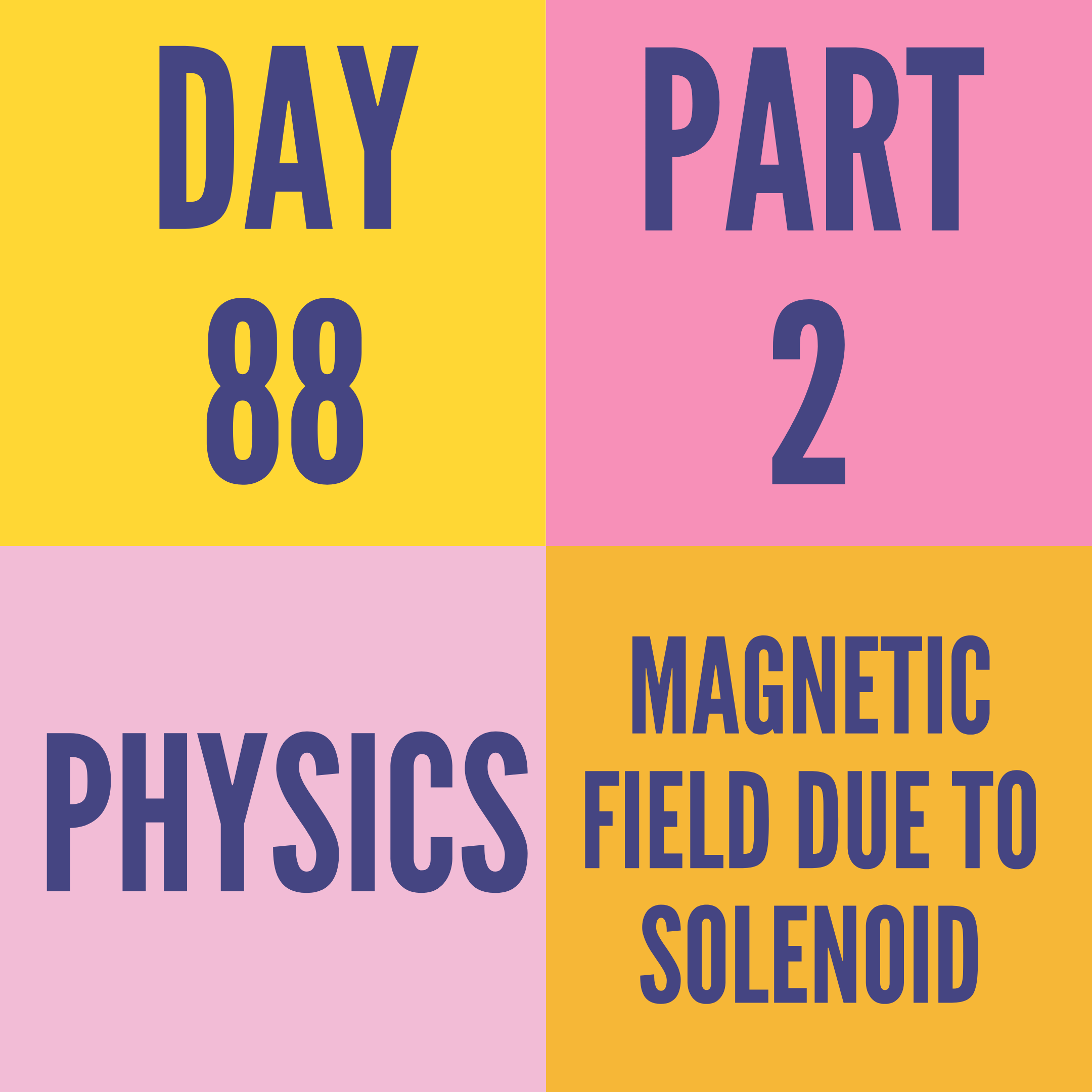 DAY-88 PART-2 MAGNETIC FIELD DUE TO SOLENOID