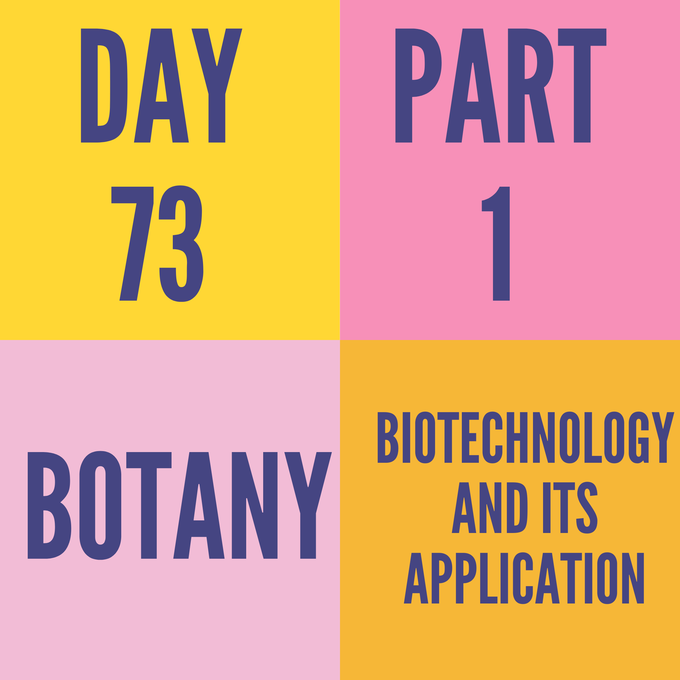 DAY-73 PART-1 BIOTECHNOLOGY AND ITS APPLICATION