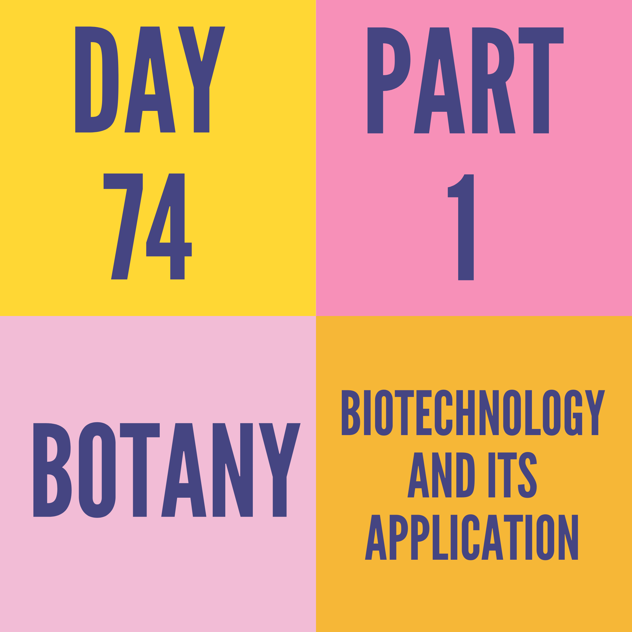DAY-74 PART-1 BIOTECHNOLOGY AND ITS APPLICATION