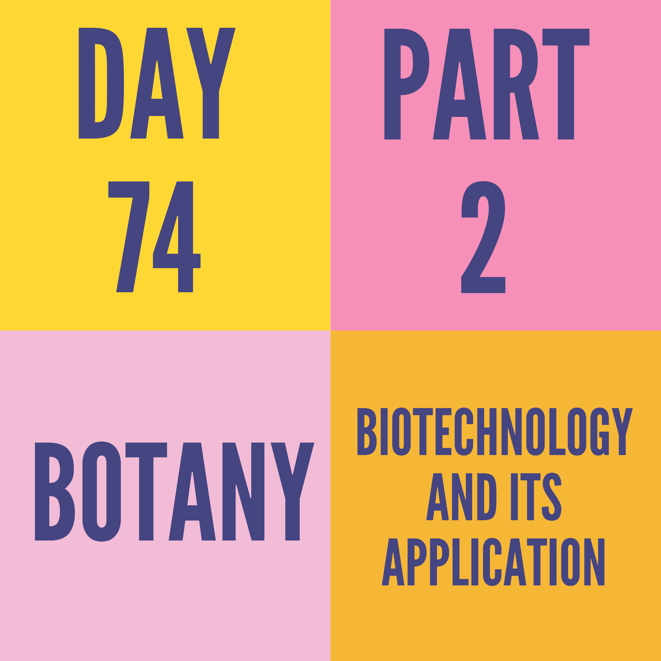 DAY-74 PART-2 BIOTECHNOLOGY AND ITS APPLICATION