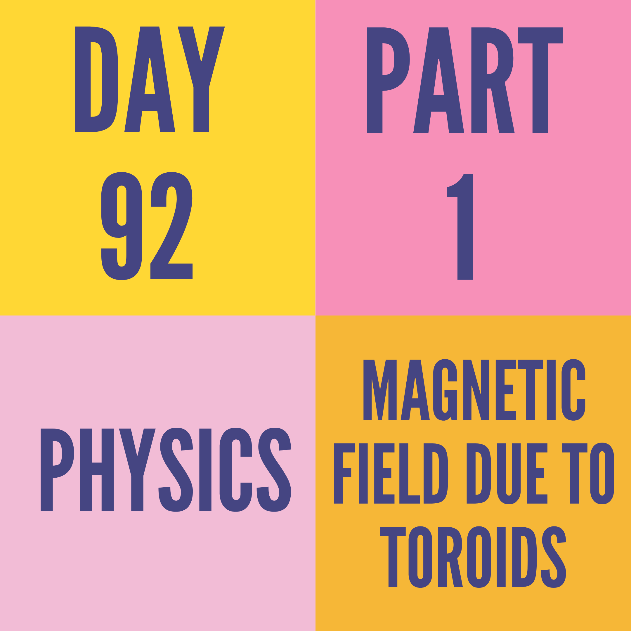DAY-92 PART-1 MAGNETIC FIELD DUE TO TOROIDS