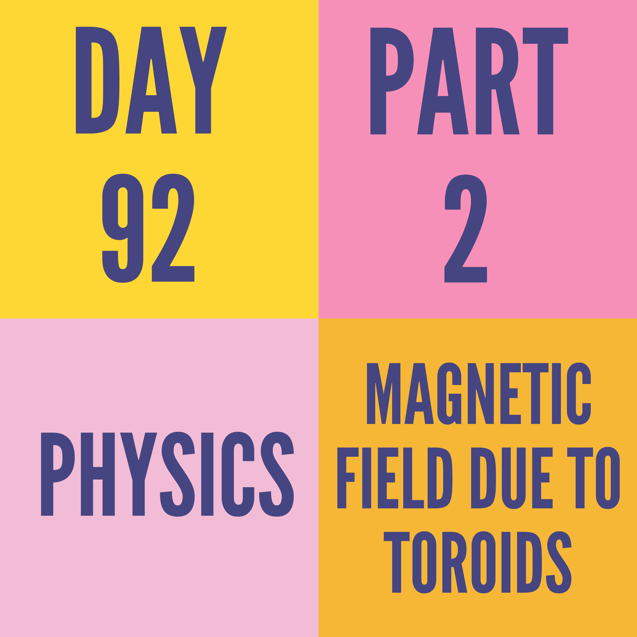 DAY-92 PART-2 MAGNETIC FIELD DUE TO TOROIDS