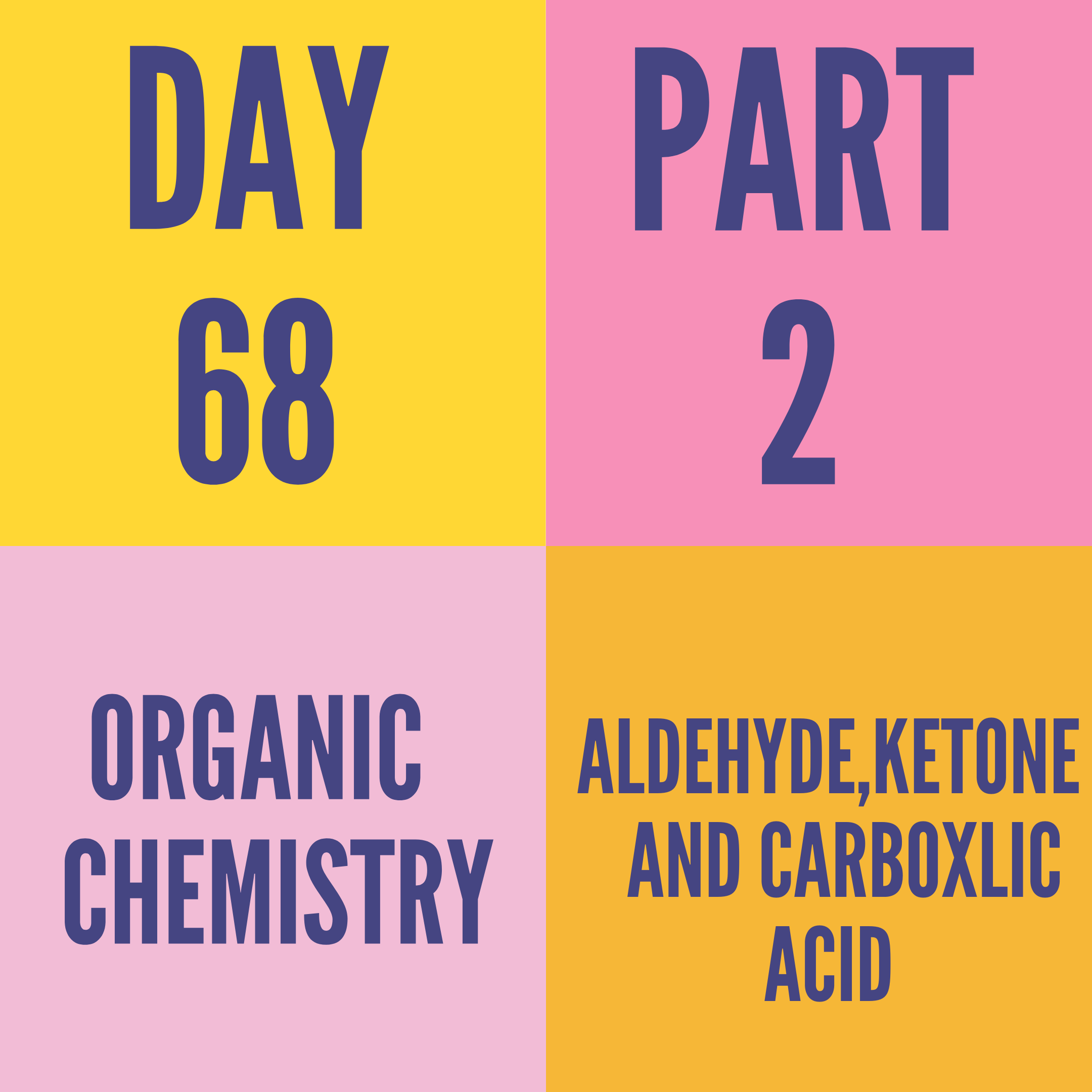 DAY-68 PART-2 ALDEHYDE,KETONE AND CARBOXLIC ACID