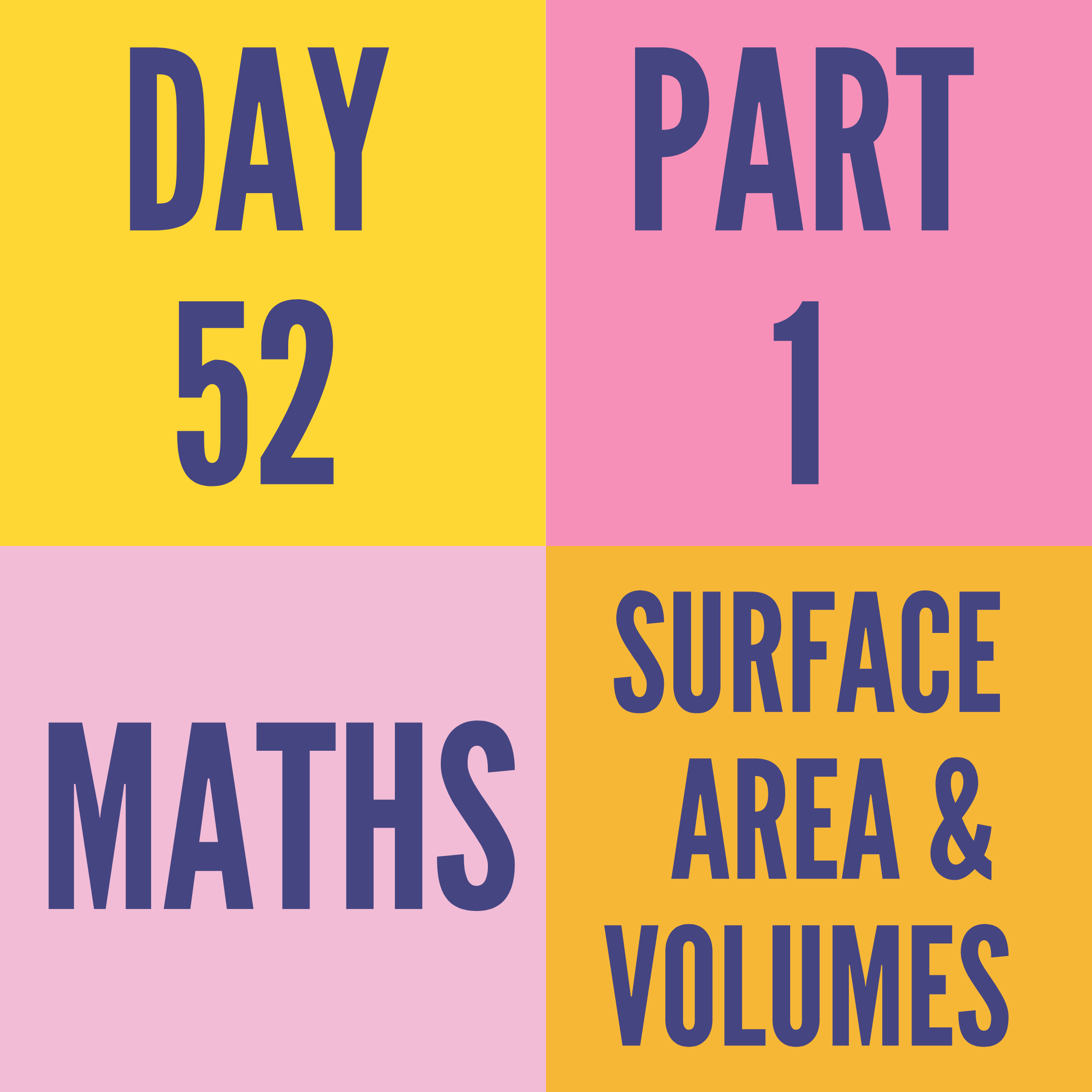 DAY-52 PART-1 SURFACE AREA & VOLUMES