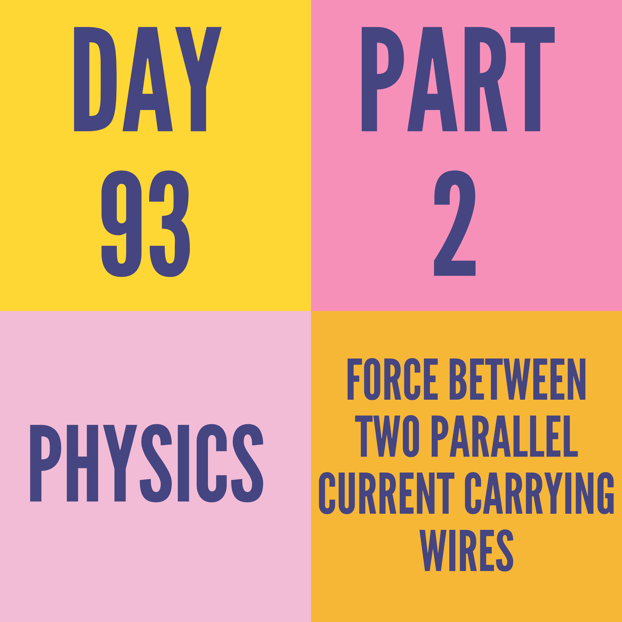 DAY-93 PART-2 FORCE BETWEENTWO PARALLEL CURRENT CARRYING WIRES