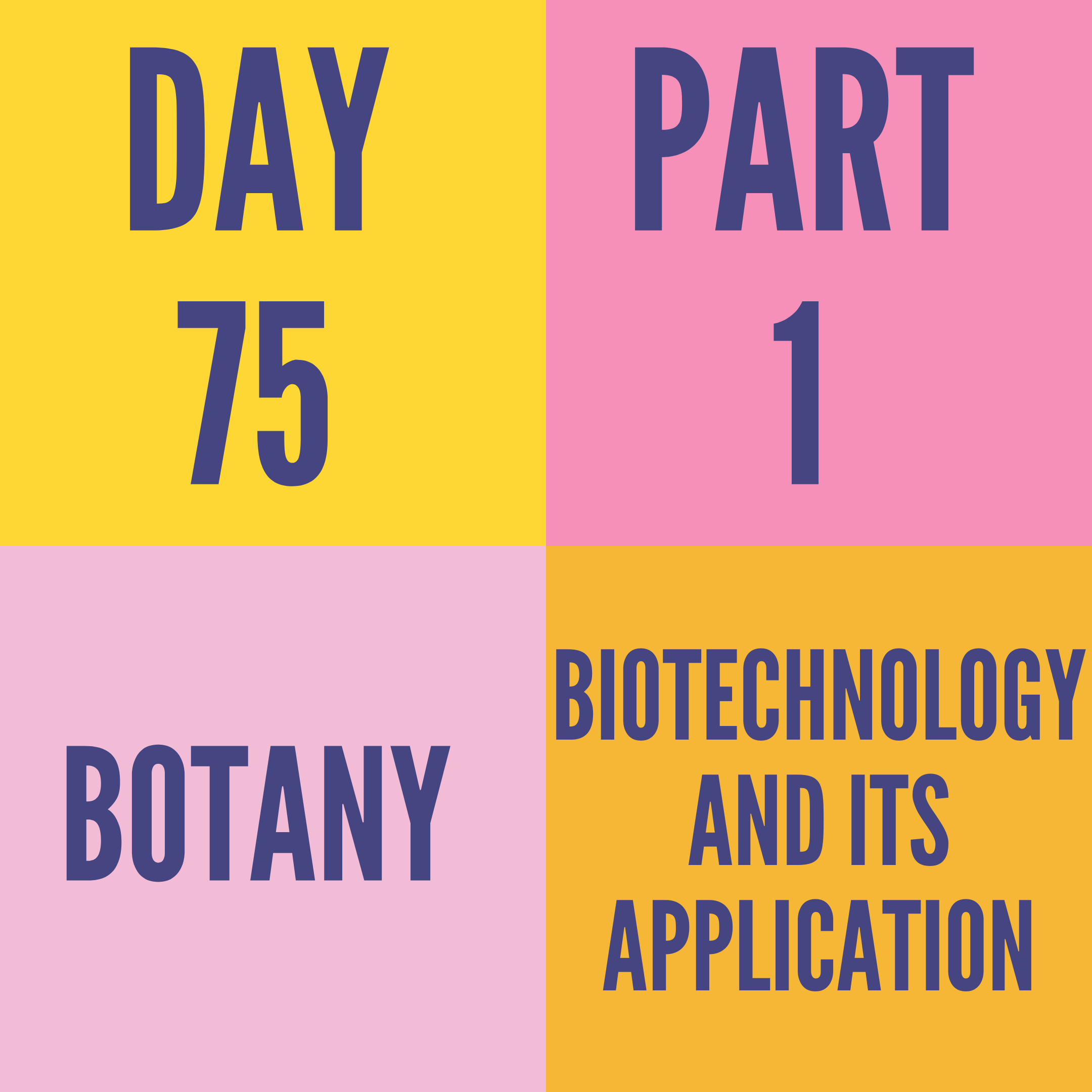 DAY-75 PART-1 BIOTECHNOLOGY AND ITS APPLICATION