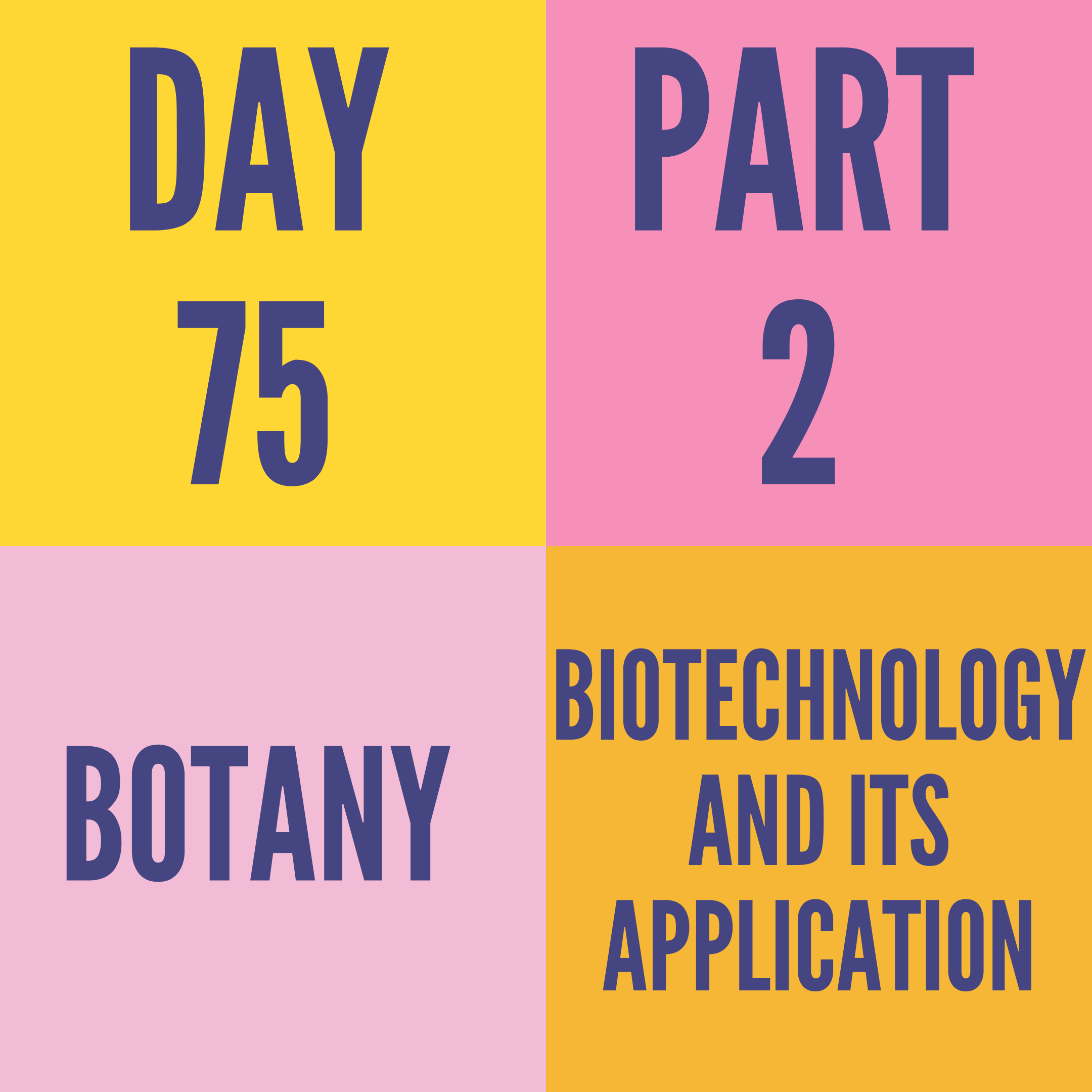 DAY-75 PART-2 BIOTECHNOLOGY AND ITS APPLICATION