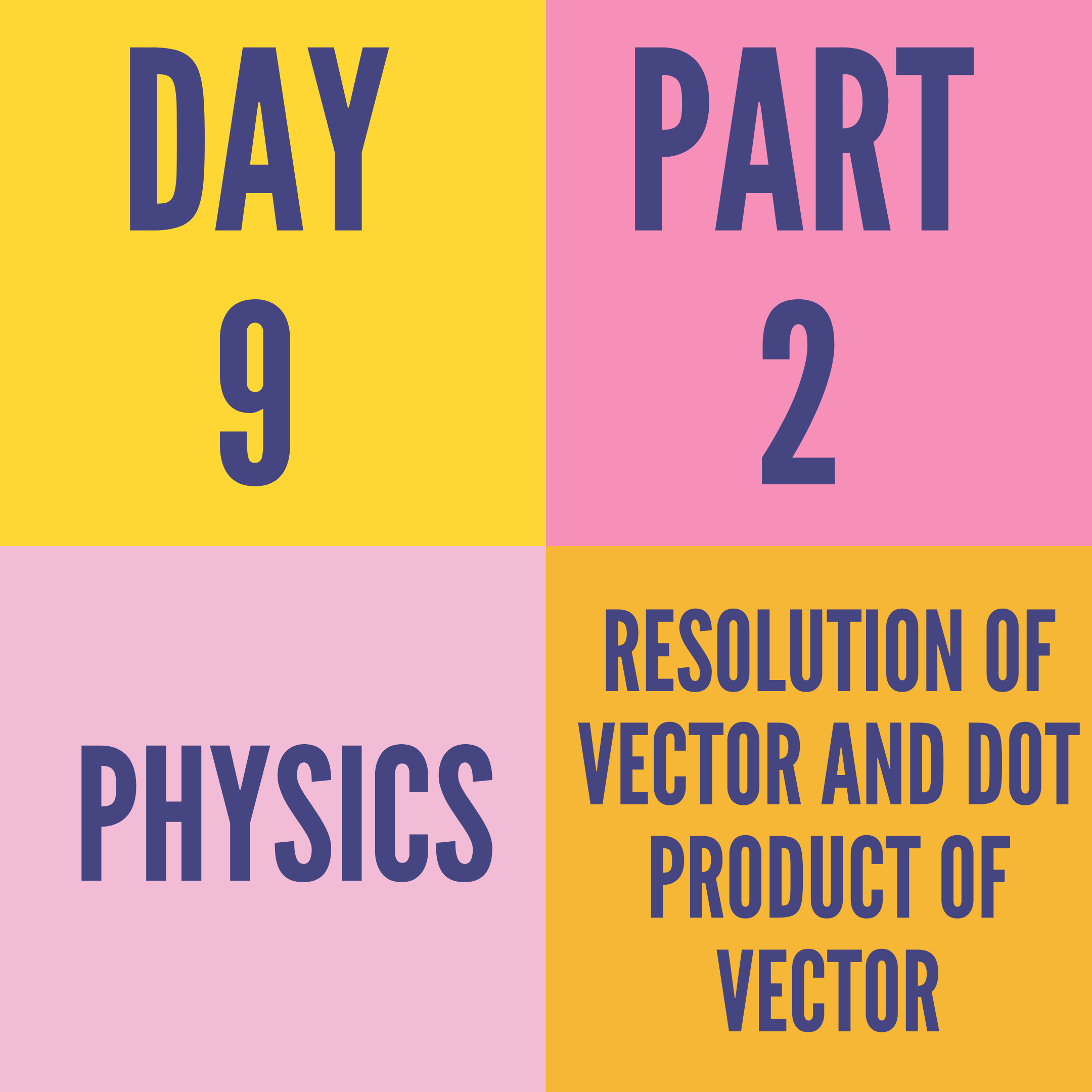 DAY-9 PART-2 RESOLUTION OF VECTOR AND DOT PRODUCT OF VECTOR