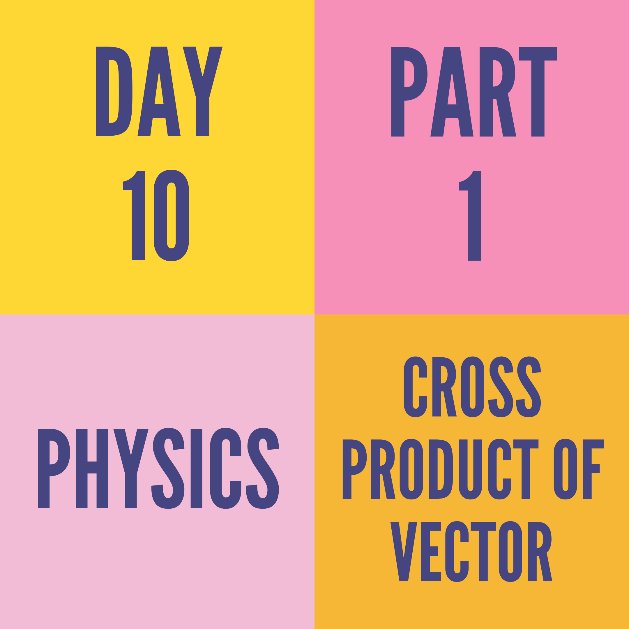 DAY-10 PART-1 CROSS PRODUCT OF VECTOR