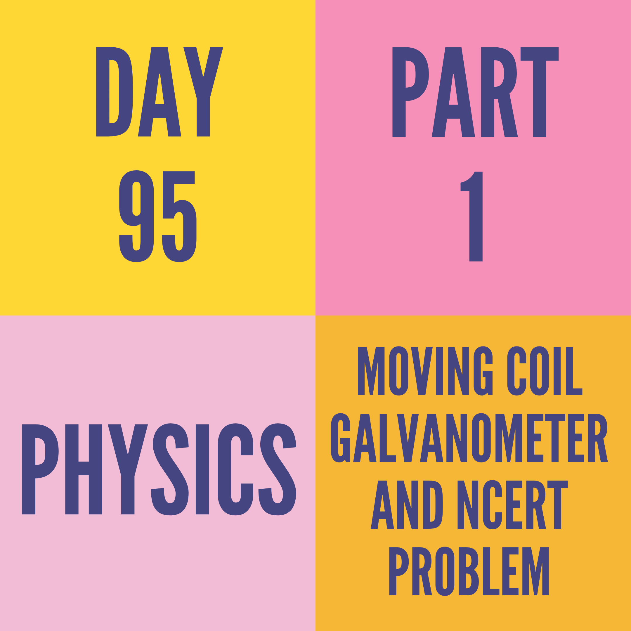 DAY-95 PART-1 MOVING COIL GALVANOMETER AND NCERT PROBLEM
