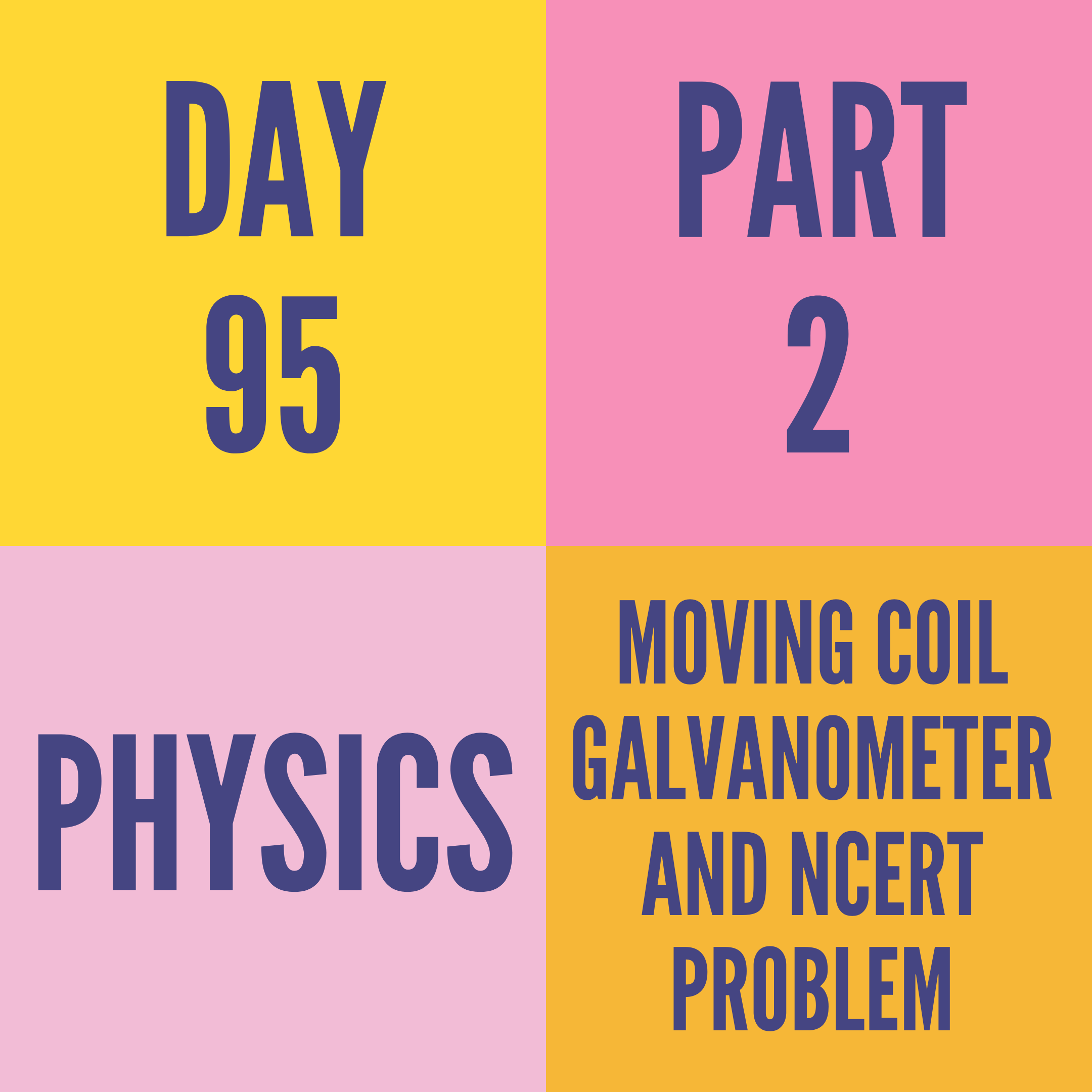 DAY-95 PART-2 MOVING COIL GALVANOMETER AND NCERT PROBLEM