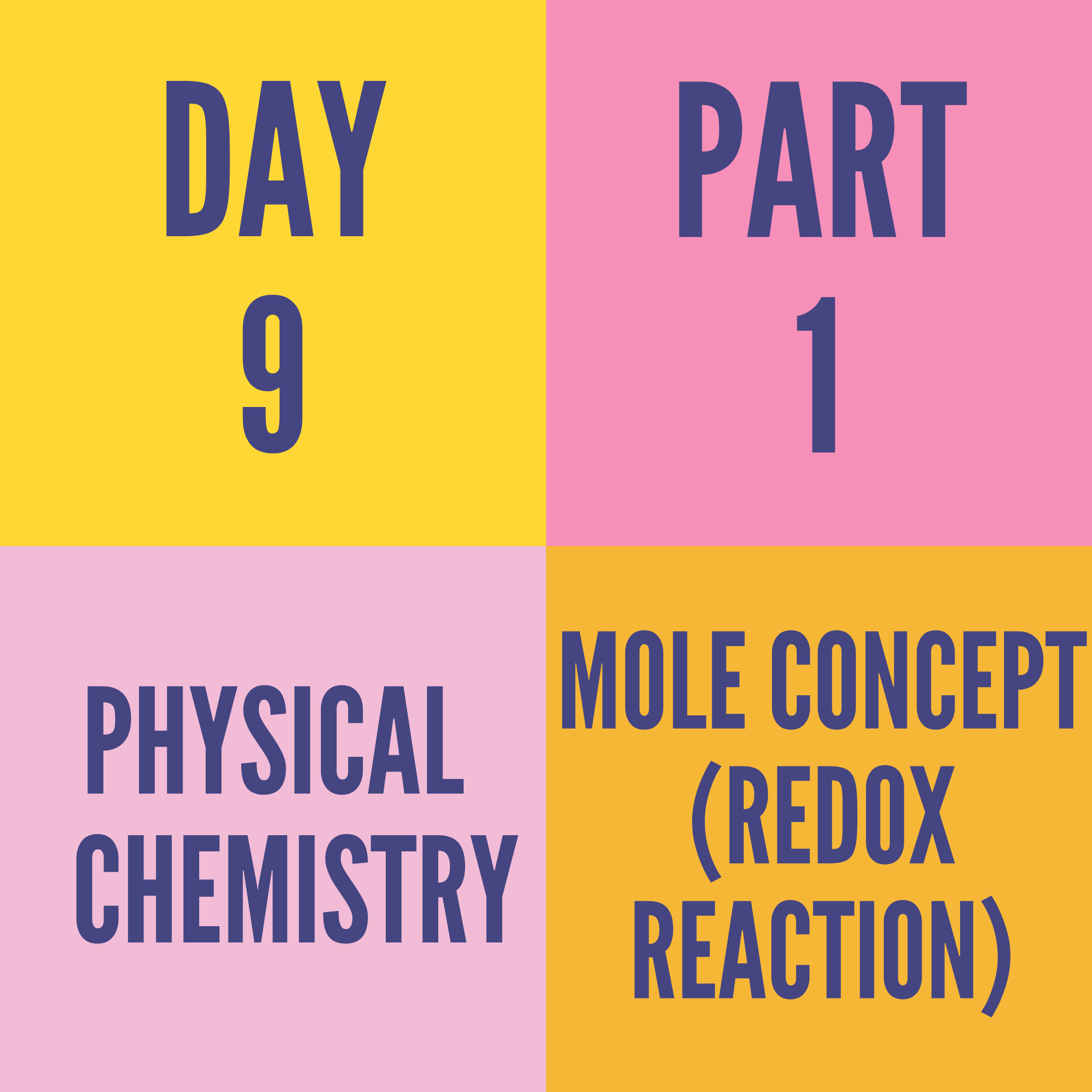 DAY-9 PART-1 MOLE CONCEPT (REDOX REACTION)