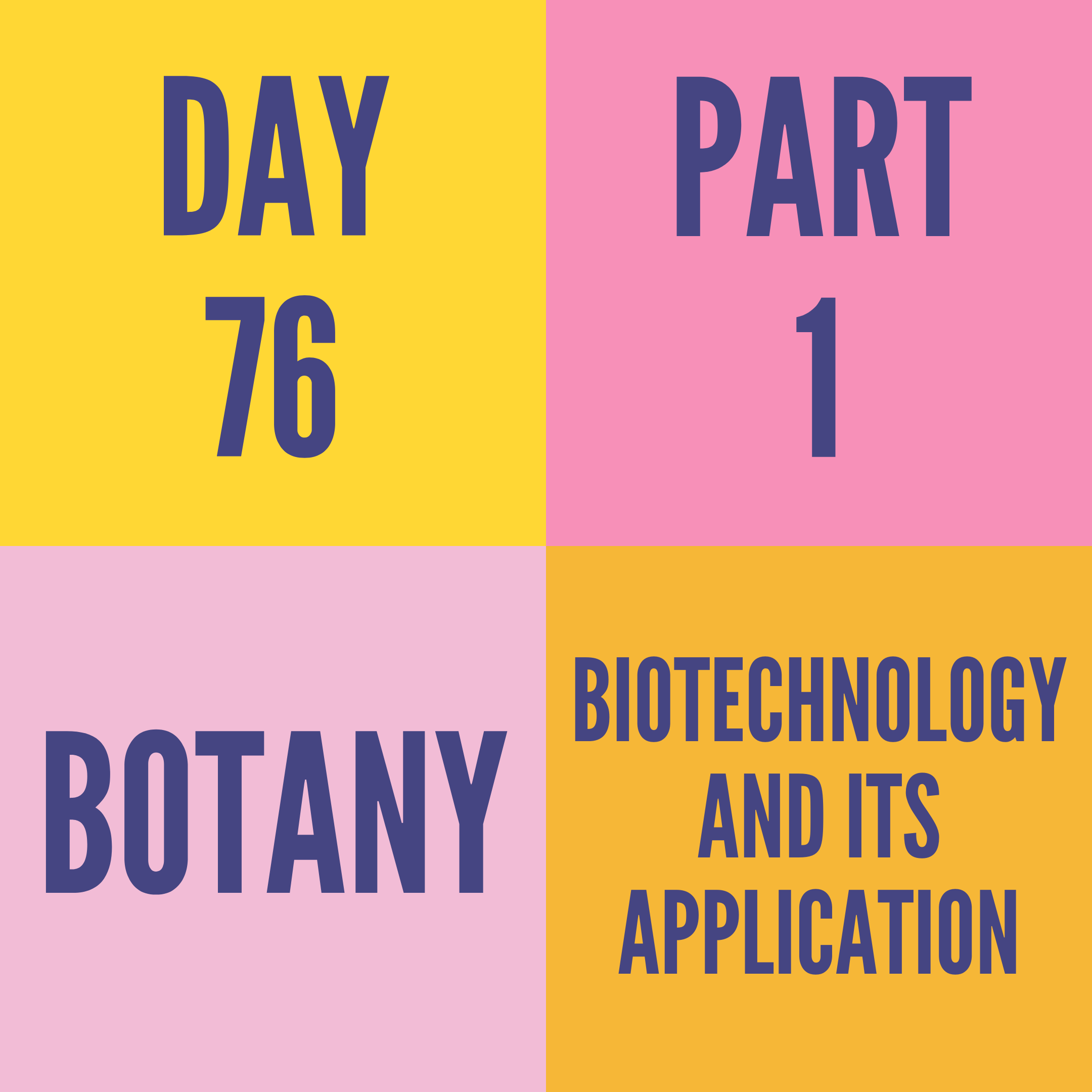 DAY-76 PART-1 BIOTECHNOLOGY AND ITS APPLICATION