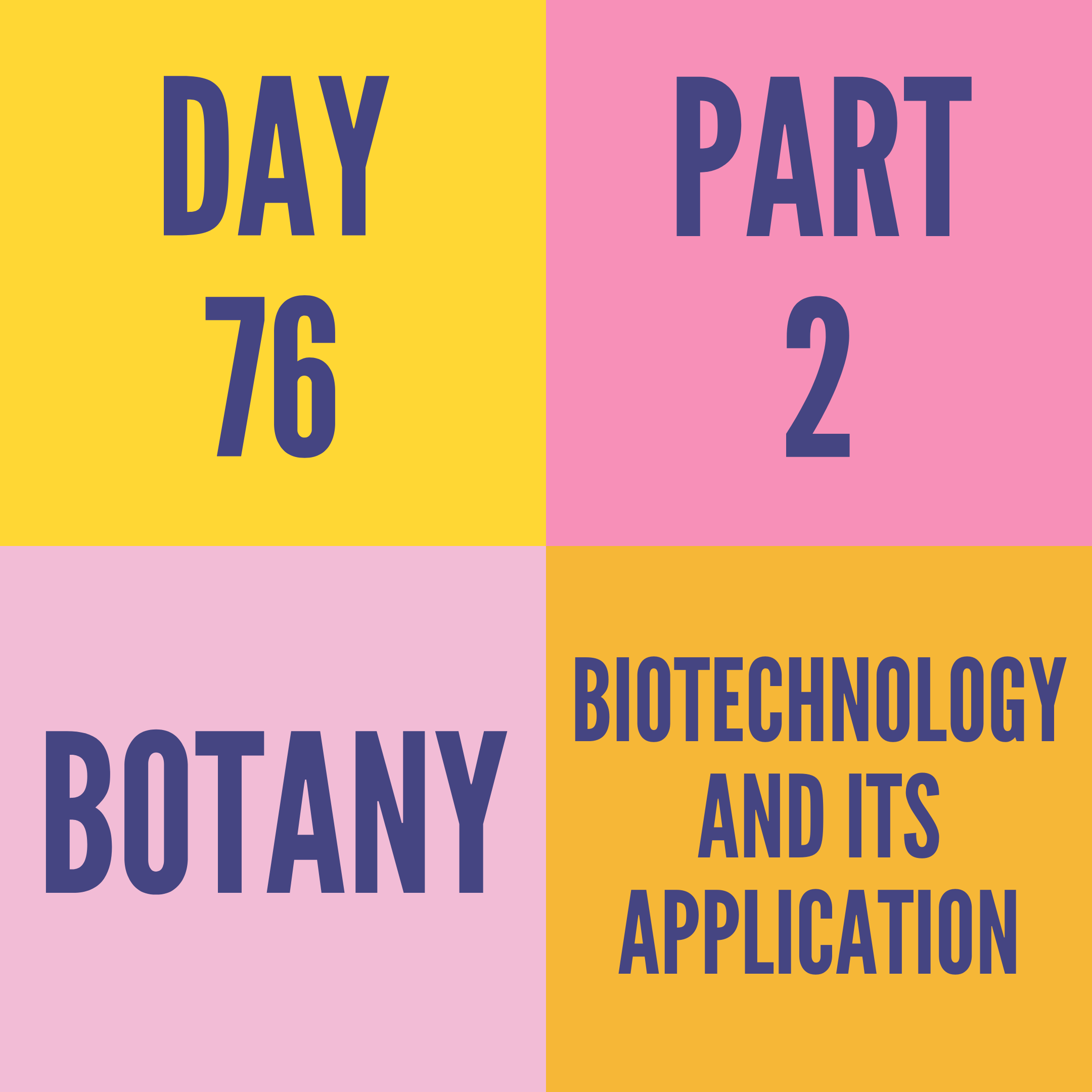 DAY-76 PART-2 BIOTECHNOLOGY AND ITS APPLICATION