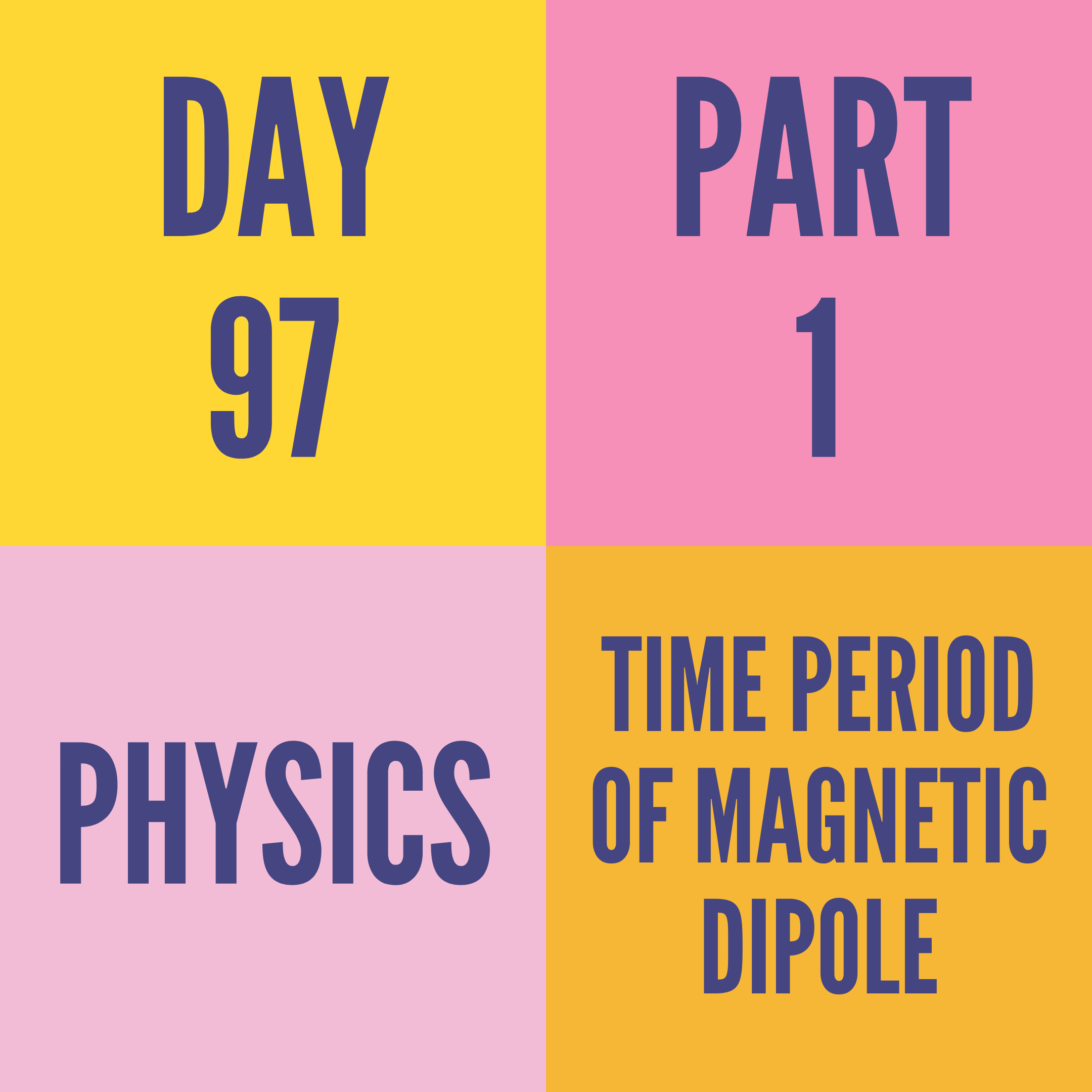 DAY-97 PART-1 TIME PERIOD OF MAGNETIC DIPOLE