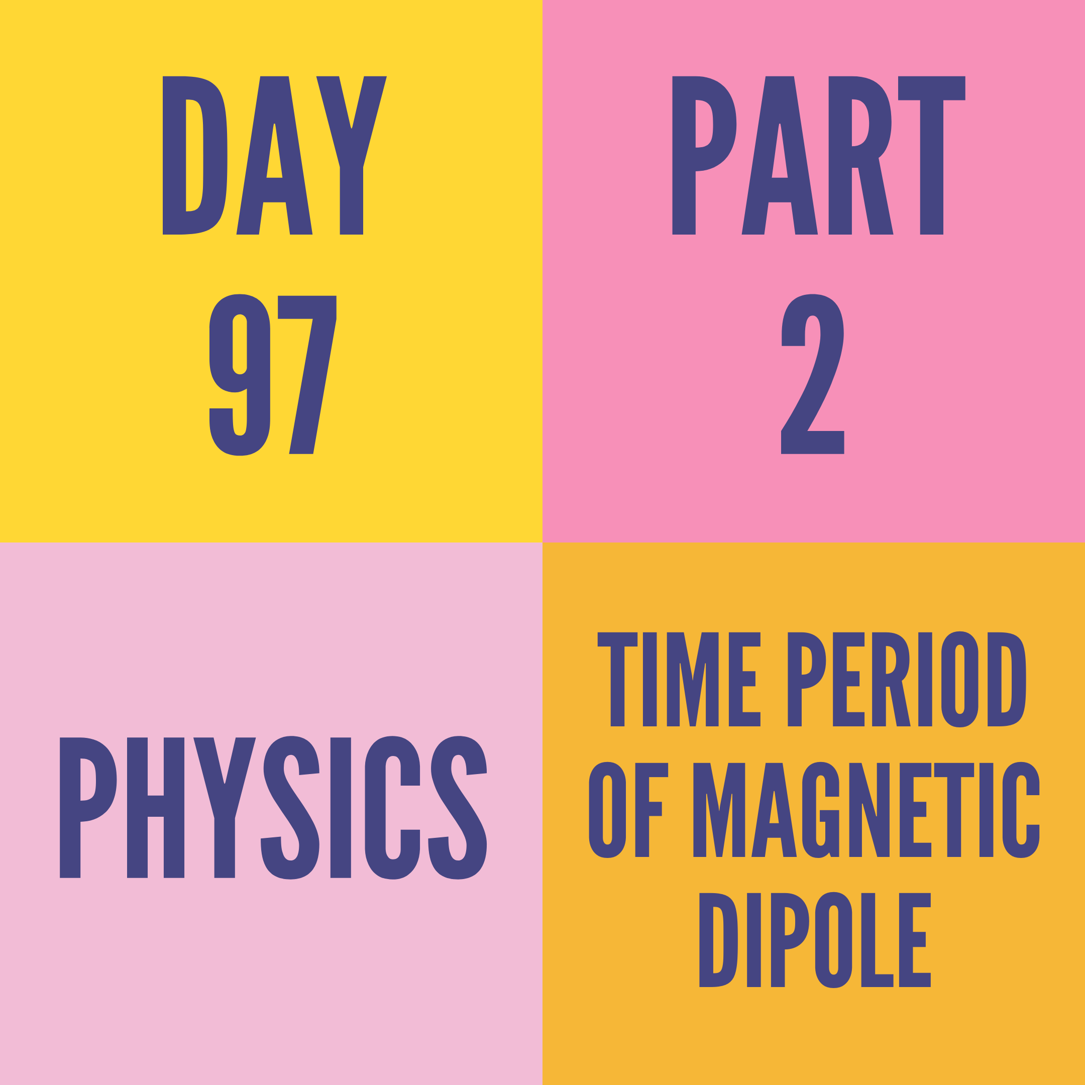 DAY-97 PART-2 TIME PERIOD OF MAGNETIC DIPOLE