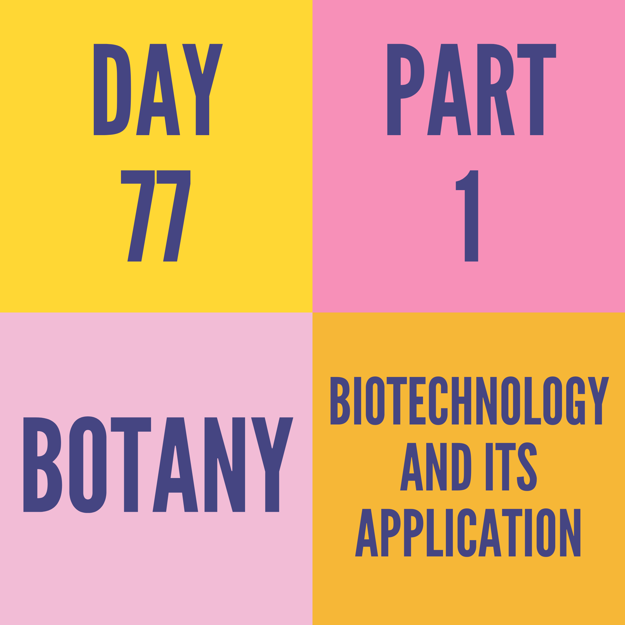 DAY-77 PART-1 BIOTECHNOLOGY AND ITS APPLICATION