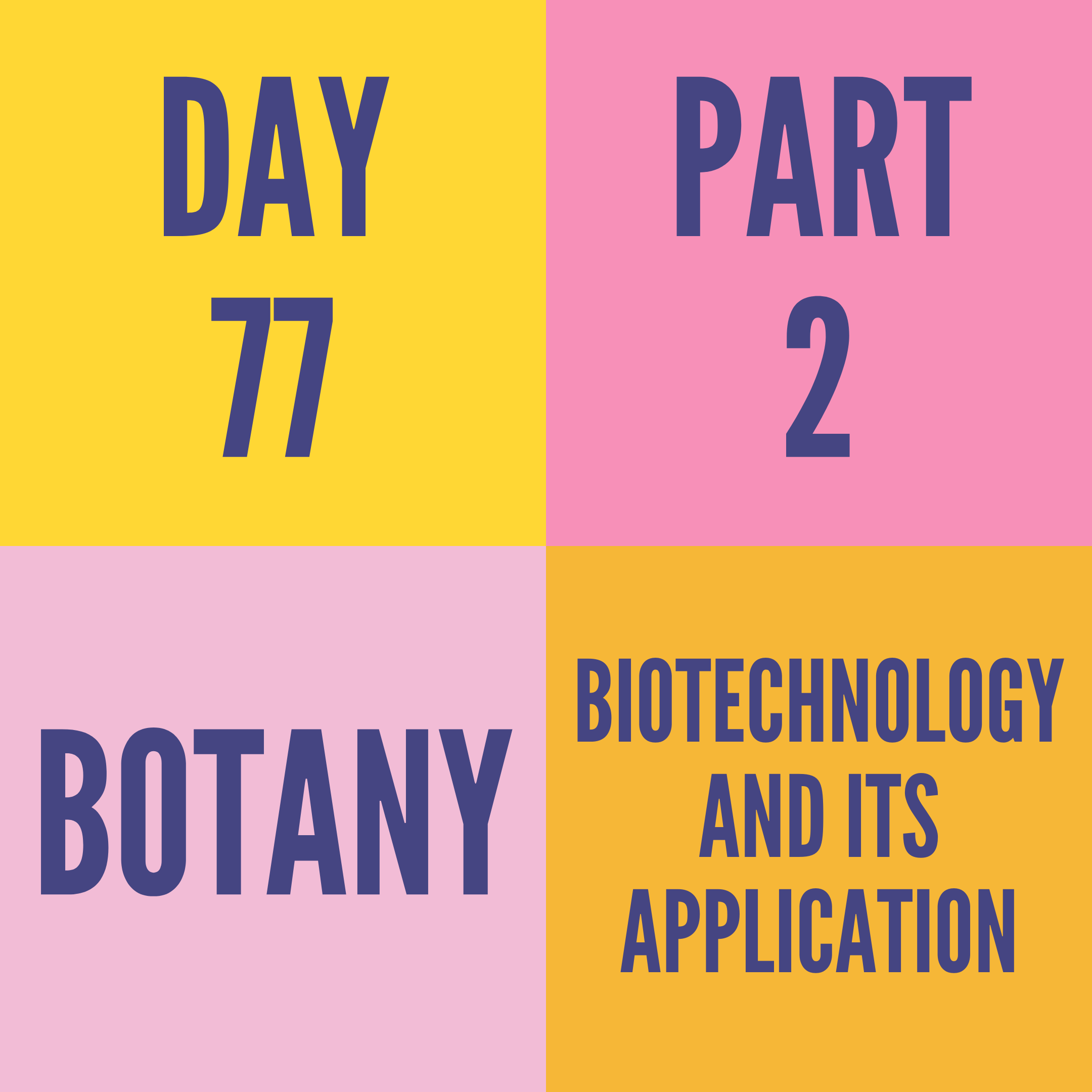 DAY-77 PART-2 BIOTECHNOLOGY AND ITS APPLICATION