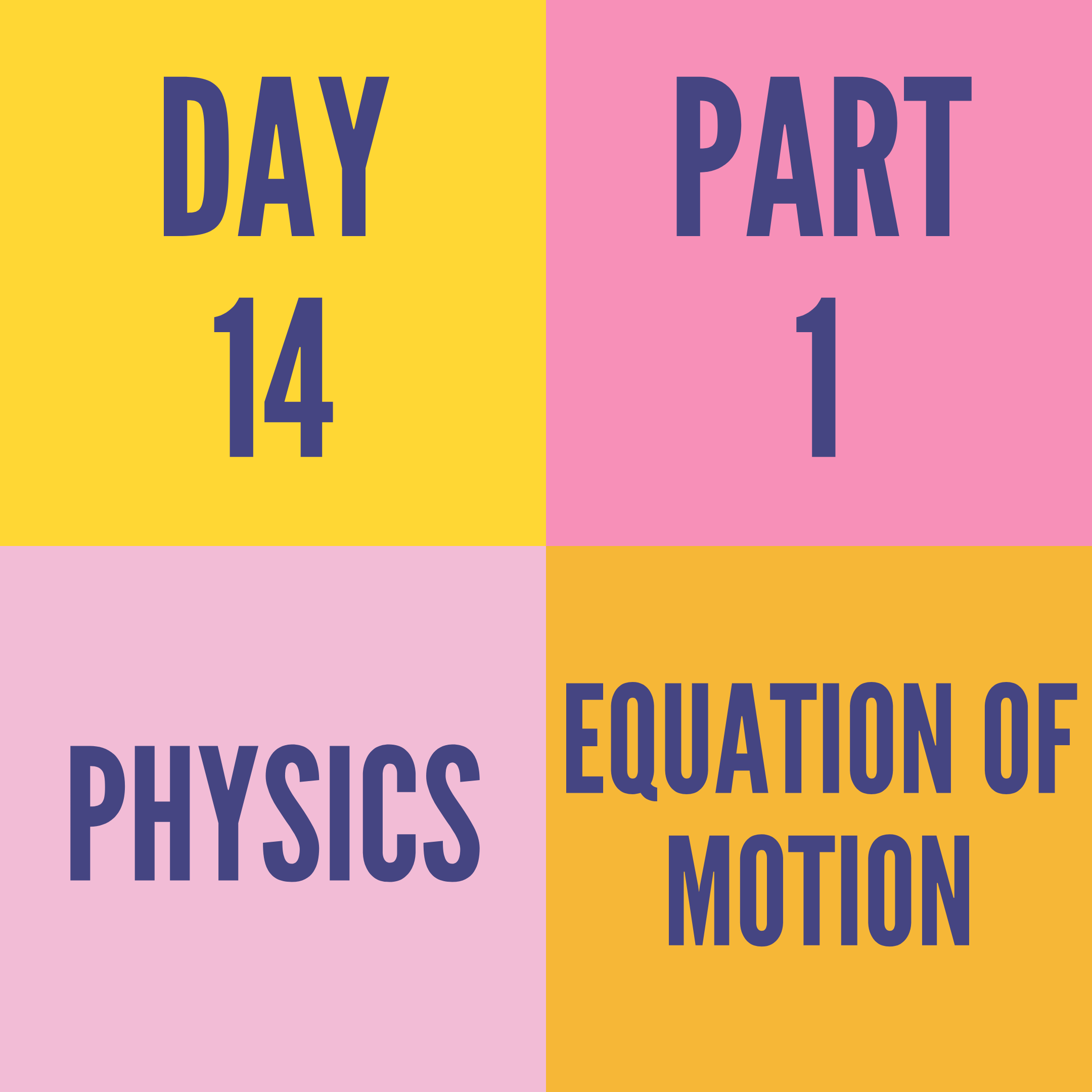 DAY-14 PART-1 EQUATION OF MOTION