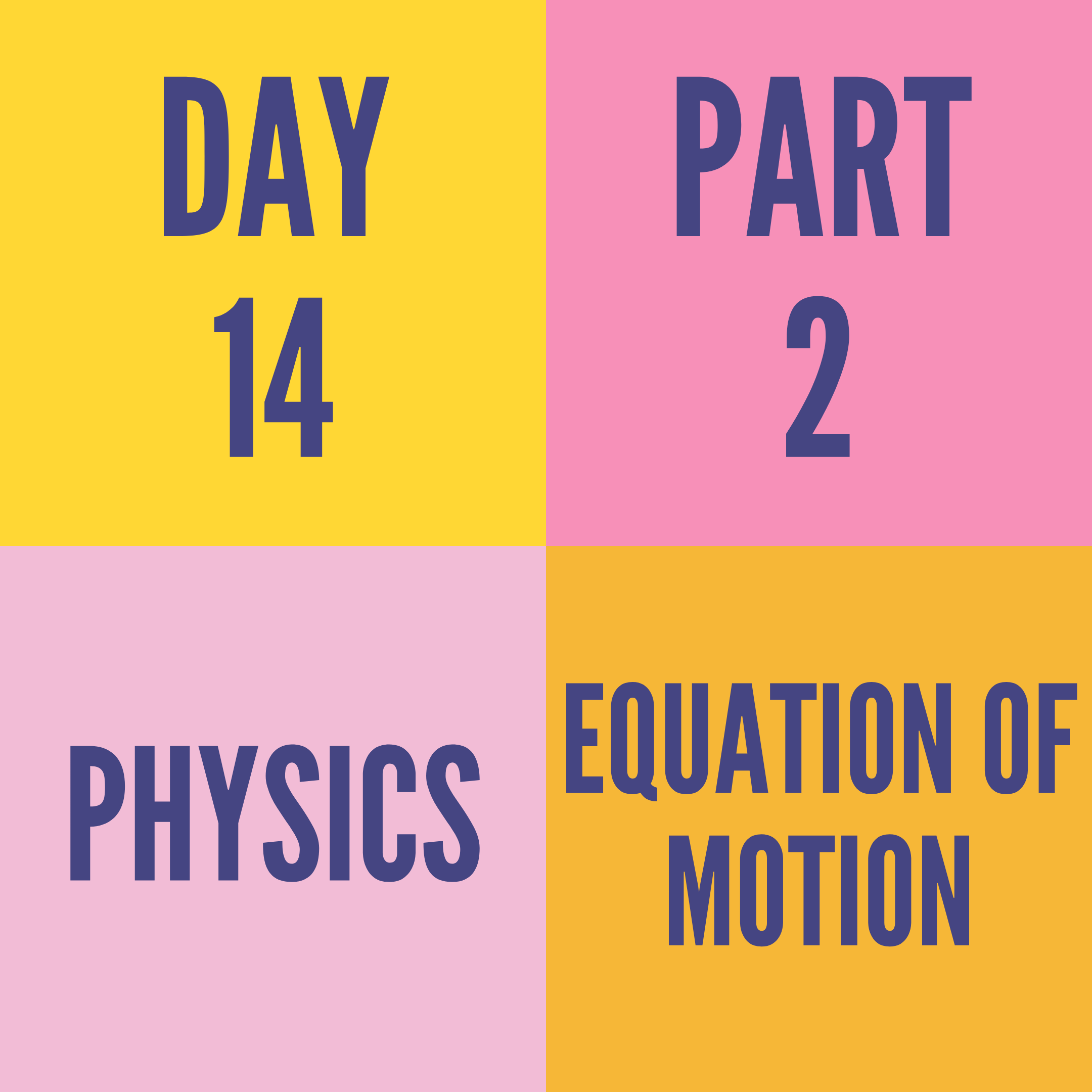 DAY-14 PART-2 EQUATION OF MOTION