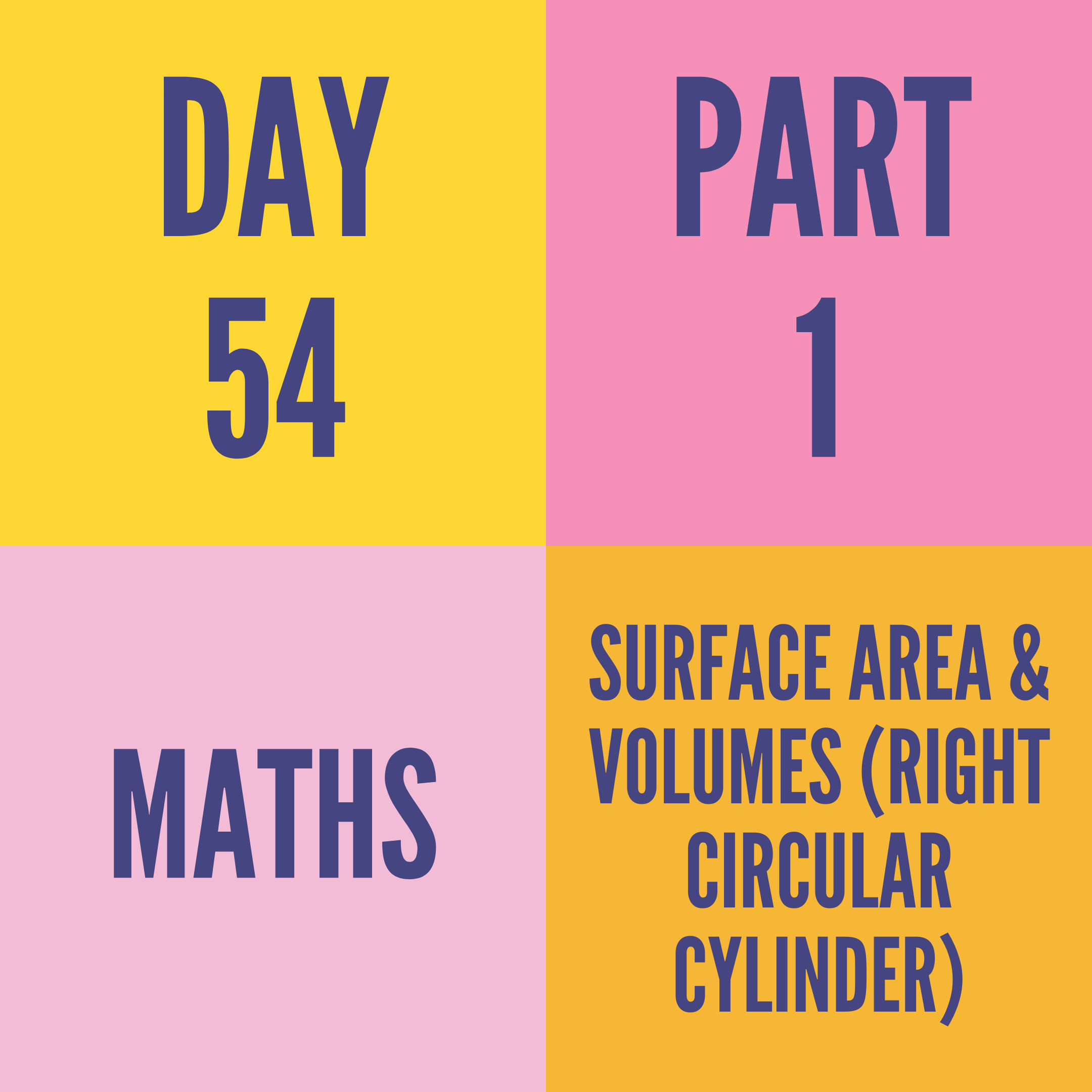 DAY-54 PART-1 SURFACE AREA & VOLUMES (RIGHT CIRCULAR CYLINDER)
