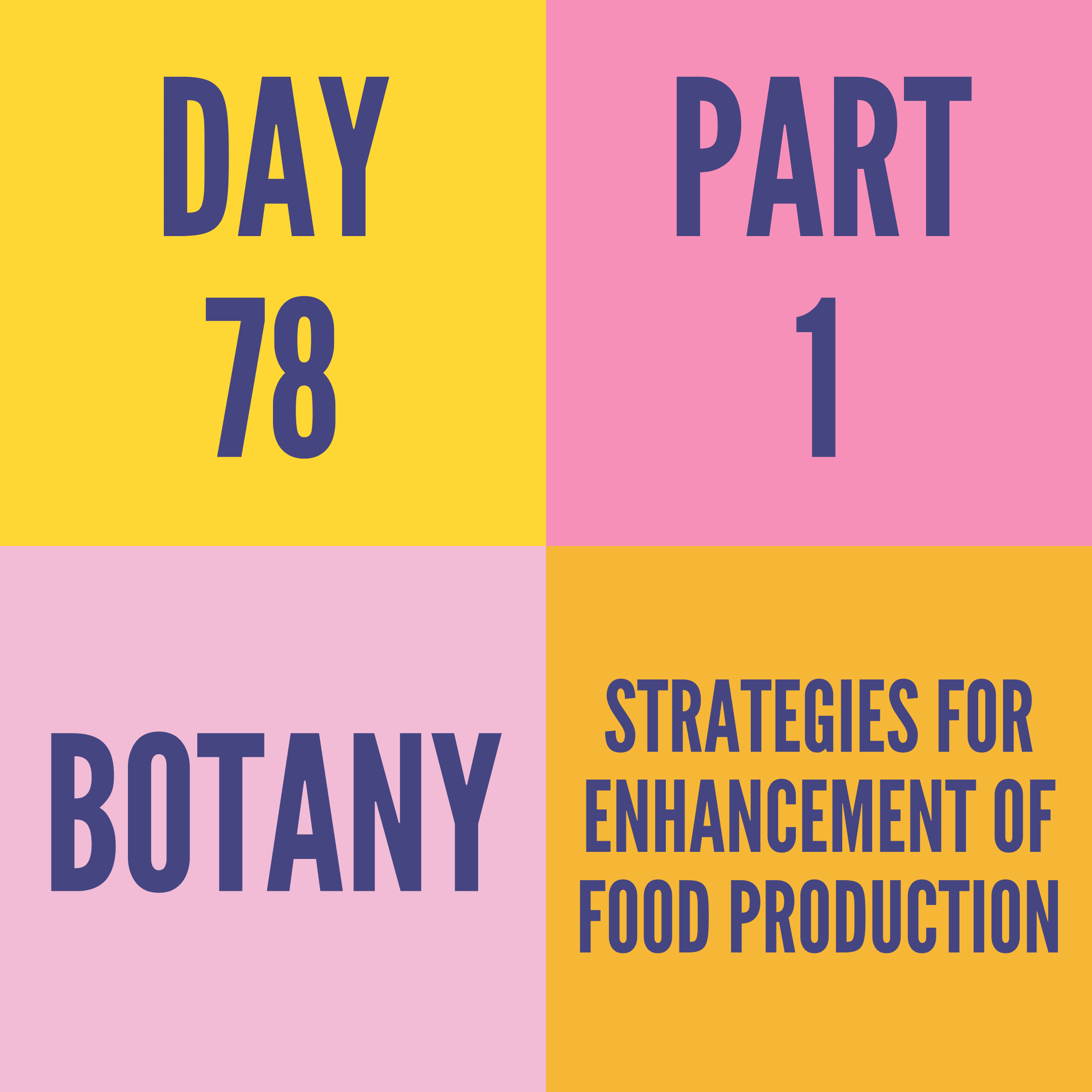 DAY-78 PART-1 STRATEGIES FOR ENHANCEMENT OF FOOD PRODUCTION