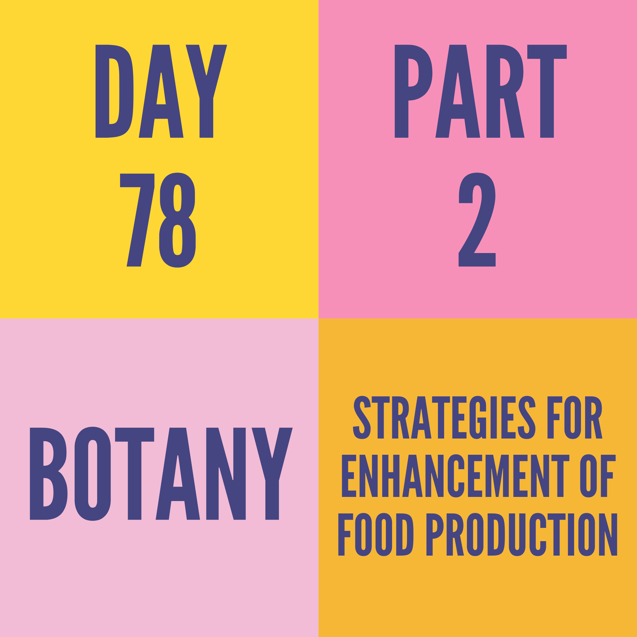 DAY-78 PART-2 STRATEGIES FOR ENHANCEMENT OF FOOD PRODUCTION