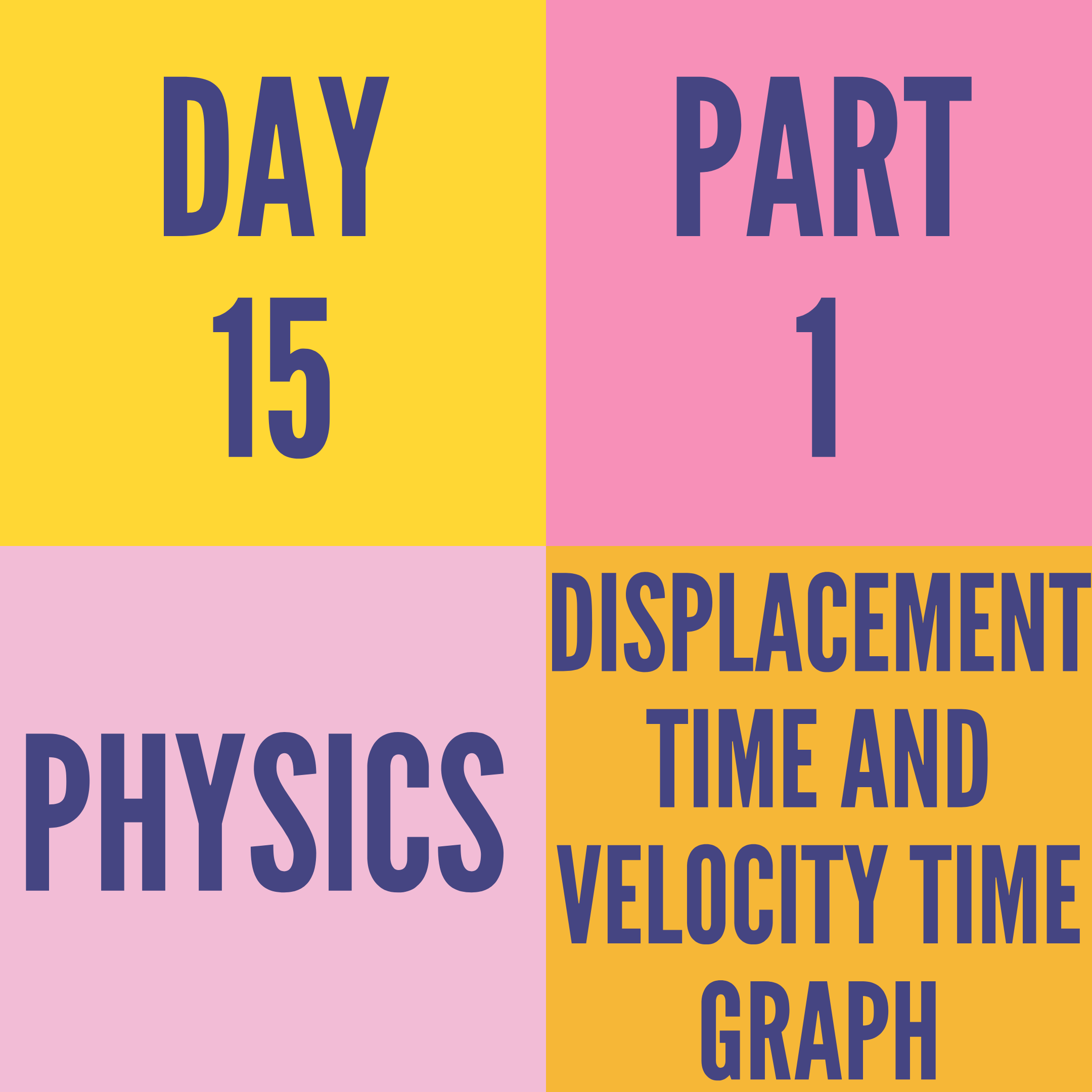 DAY-15 PART-1 DISPLACEMENT TIME AND VELOCITY TIME GRAPH