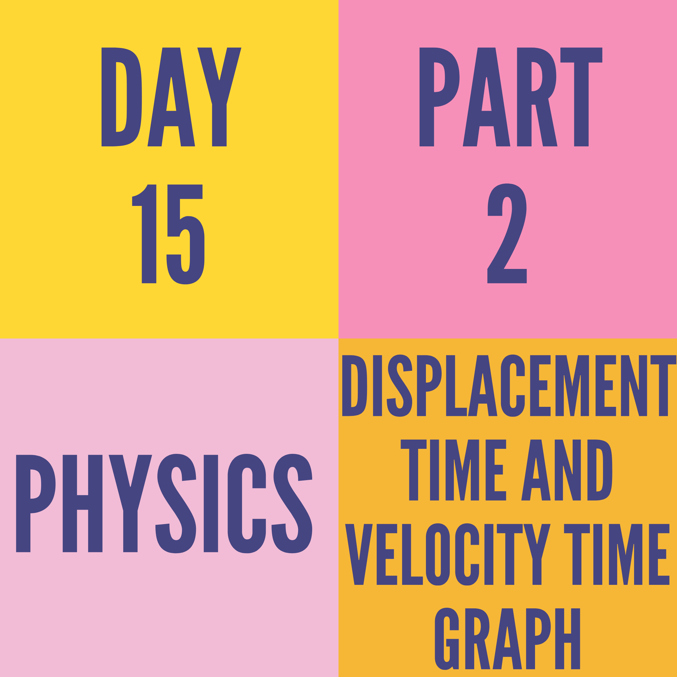 DAY-15 PART-2 DISPLACEMENT TIME AND VELOCITY TIME GRAPH