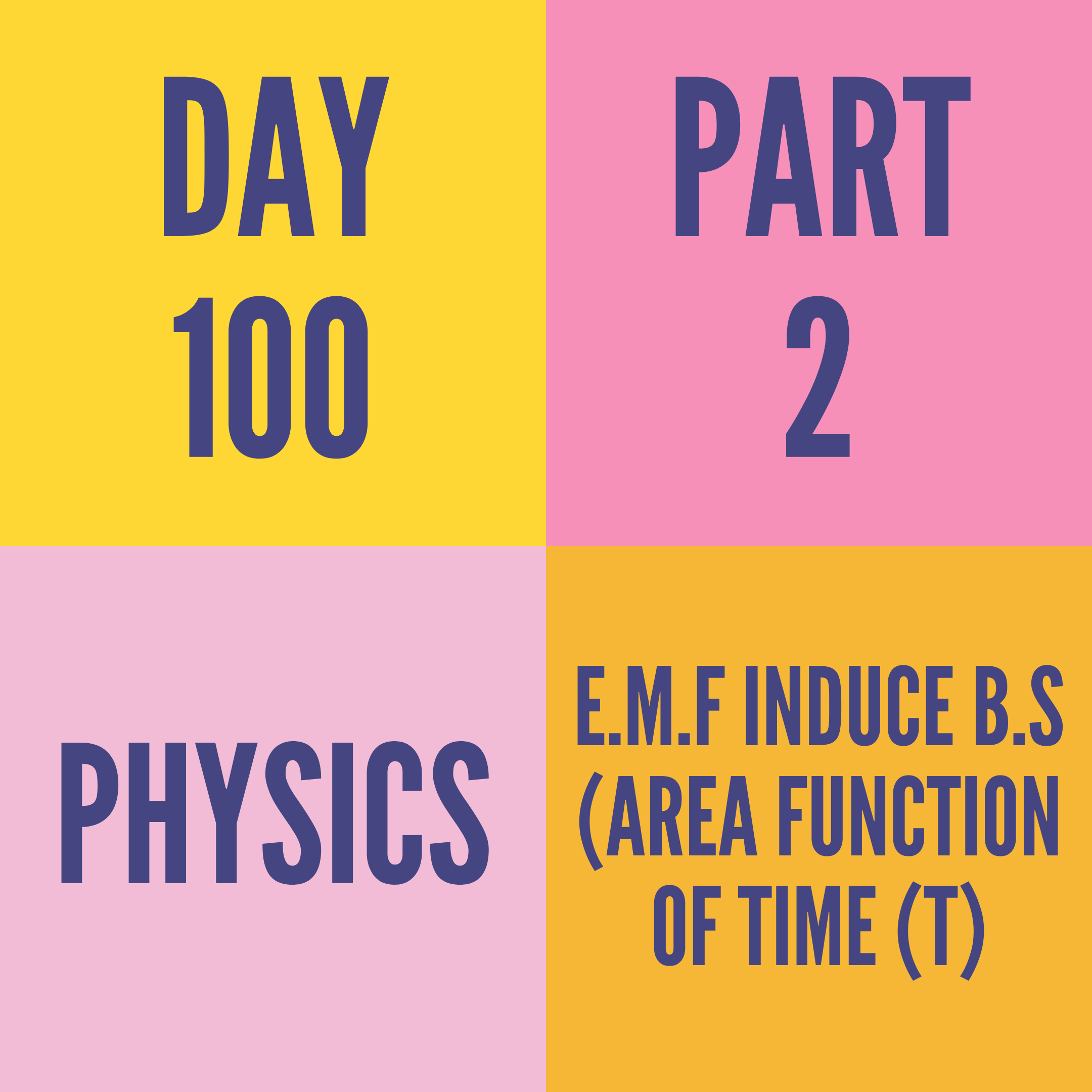 DAY-100 PART-2 E.M.F INDUCE B.S (AREA FUNCTION OF TIME (t)